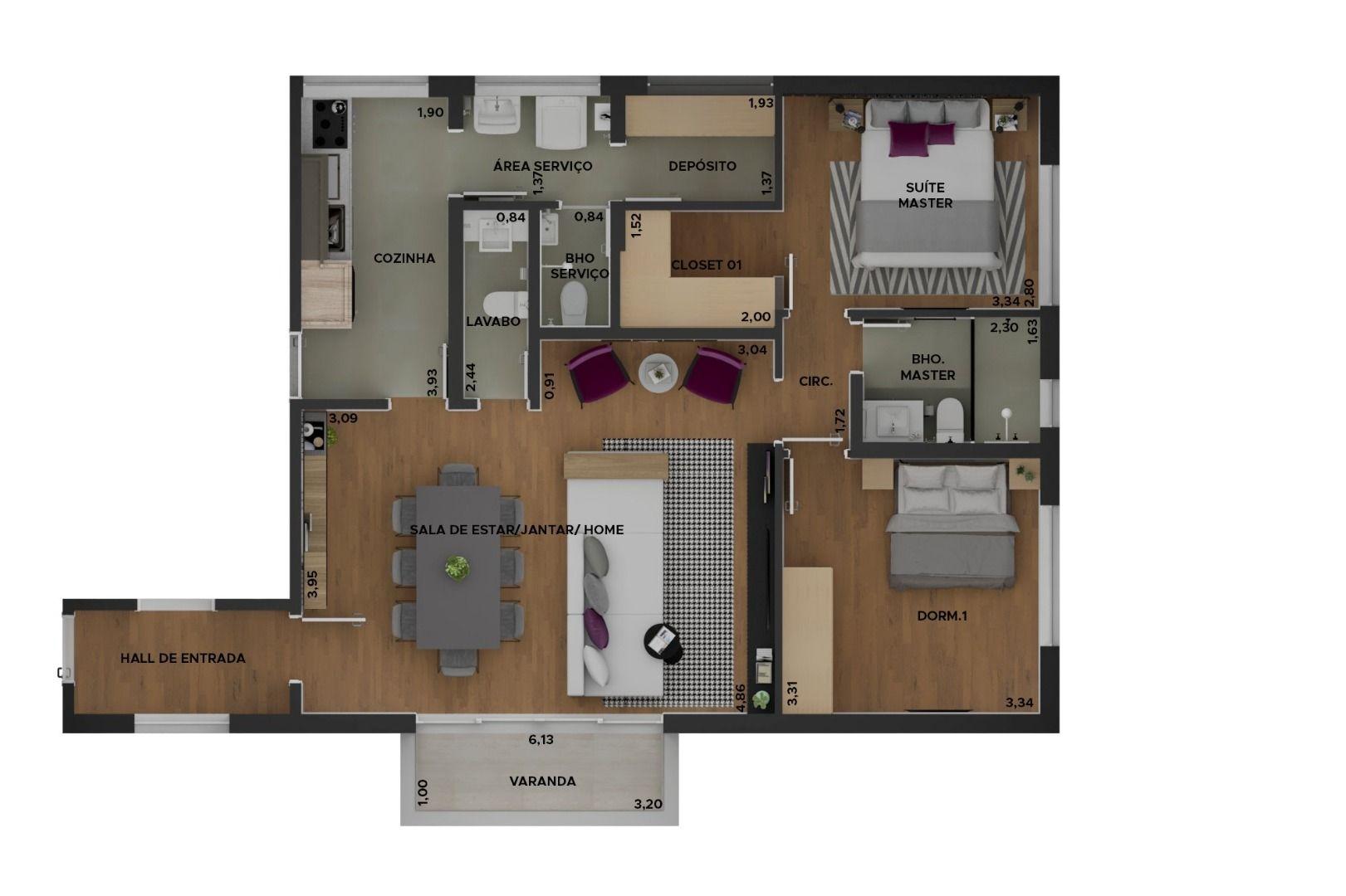 85 M² - 2 DORMITÓRIOS. (Apartamento 102, 10º andar).