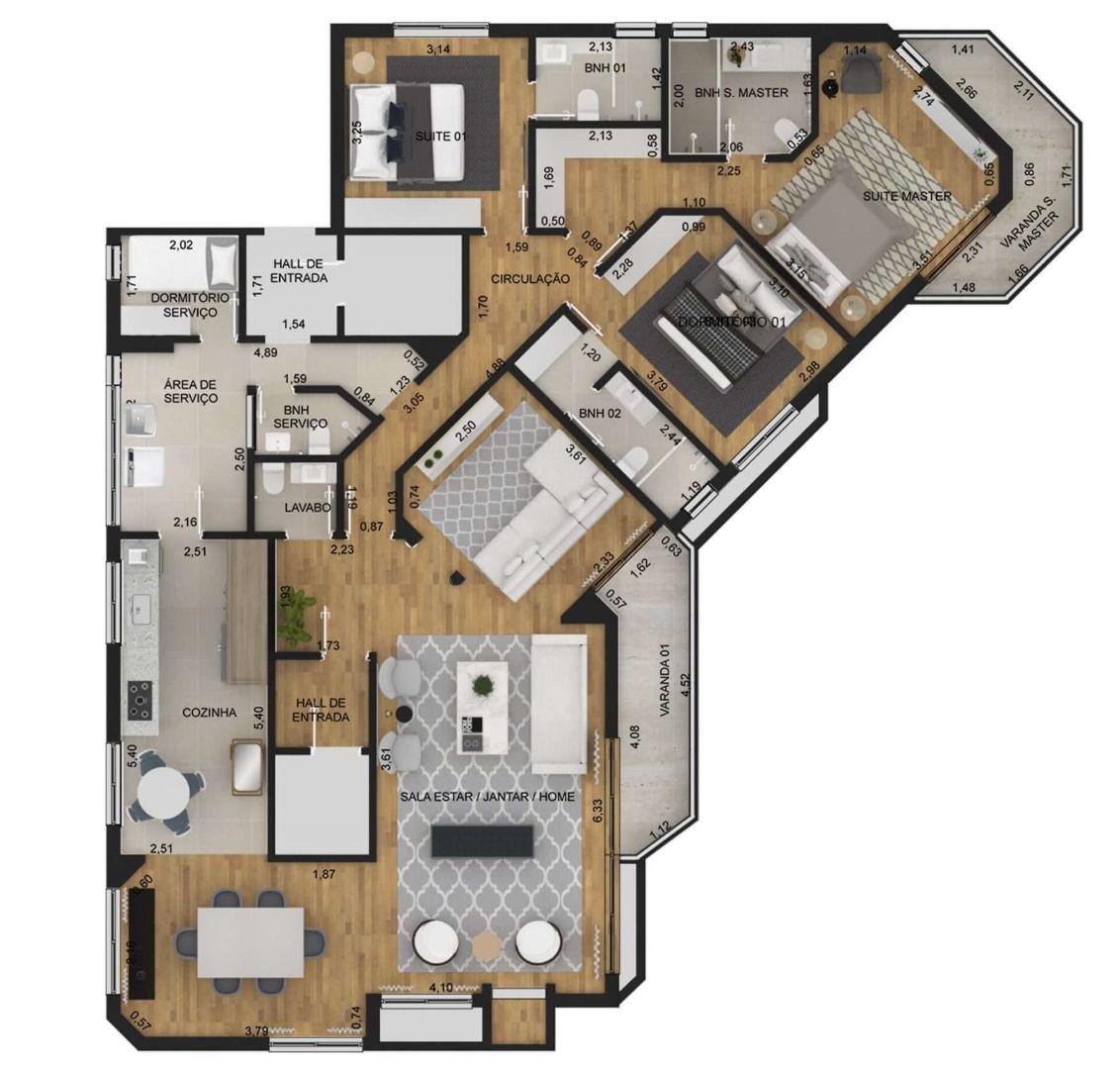 169 M² - 3 SUÍTES. (Apartamento 71, 7º andar).