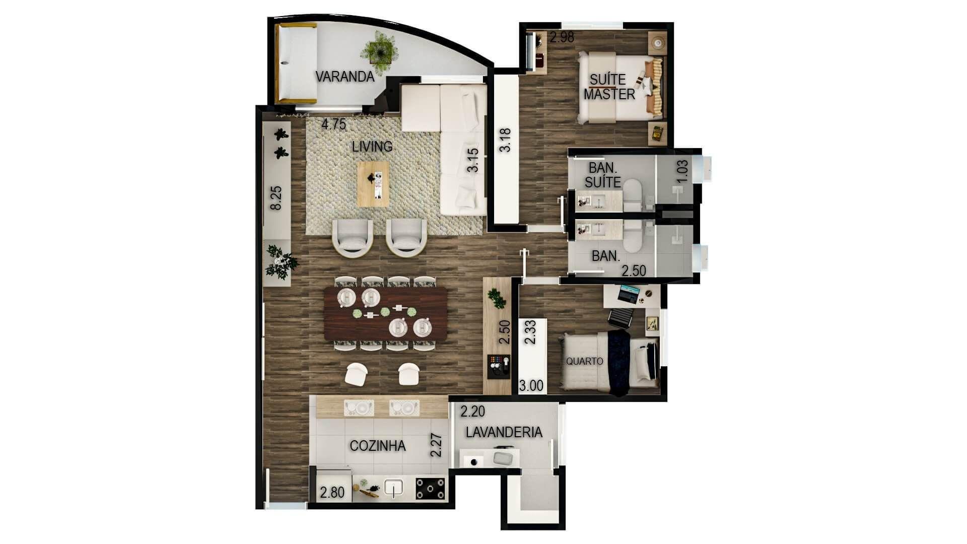 79 M² - 2 DORMITÓRIOS, SENDO 1 SUÍTE. (Apartamento 102, 10º andar).