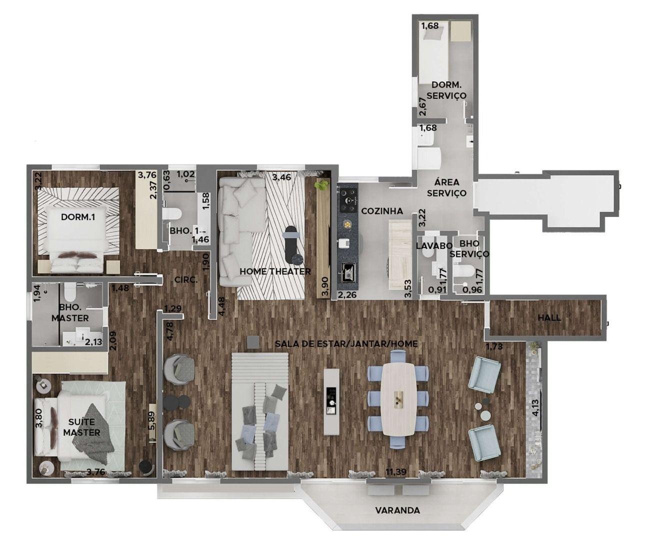 158 M² - 2 DORMITÓRIOS, SENDO 1 SUÍTE.  (Apartamento 181, 18º andar).