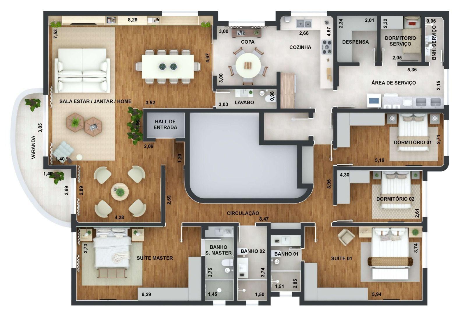 261 M² - 4 DORMITÓRIOS, SENDO 2 SUÍTES. (Apartamento 31, 3º andar).