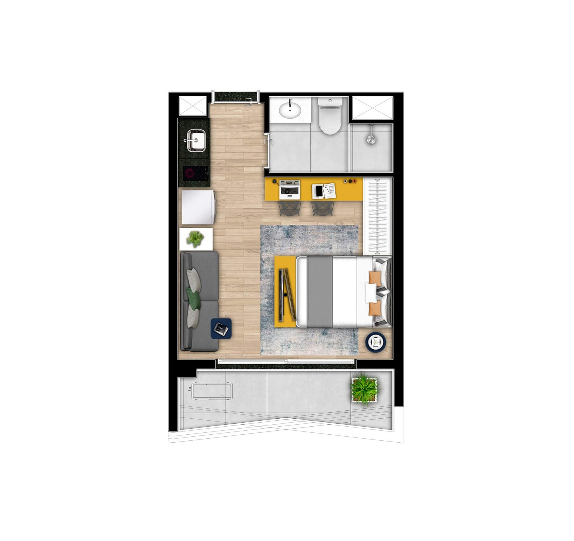 Planta do Nex One Alto da Boa Vista. floorplan