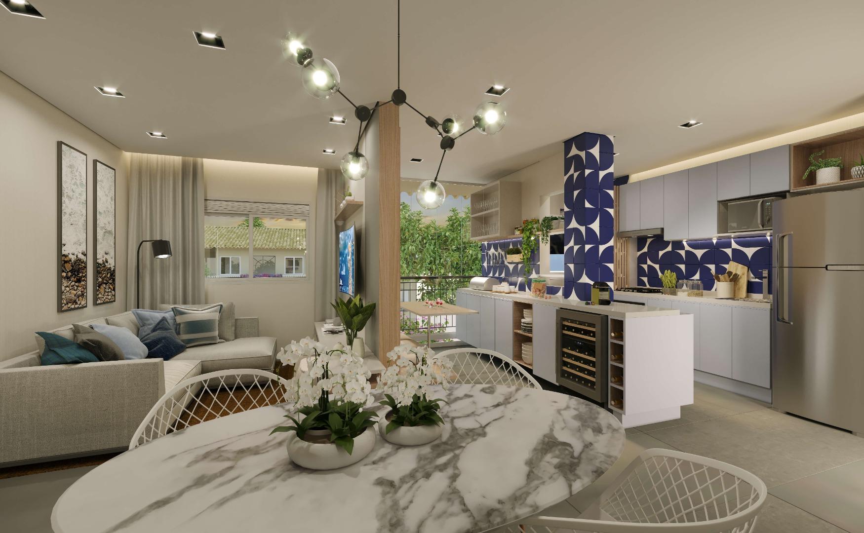 LIVING da unidade de 53 m² com sala de TV reservada e sala de jantar. Destaque para a copa, com espaço extra de armários e bancada, uma extensão da cozinha para você que gosta de preparar refeições em casa.