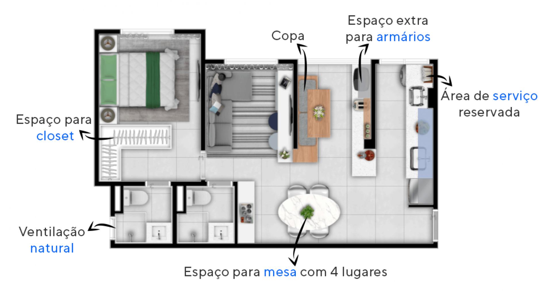 53 M² - 1 SUÍTE + ESPAÇO MULTIUSO. Apartamentos do Vila Flor Jundiaí com ambientes bem ventilados. Destaque para a extensão da cozinha, um espaço multiuso, com área extra para armazenamento e para refeições rápidas.