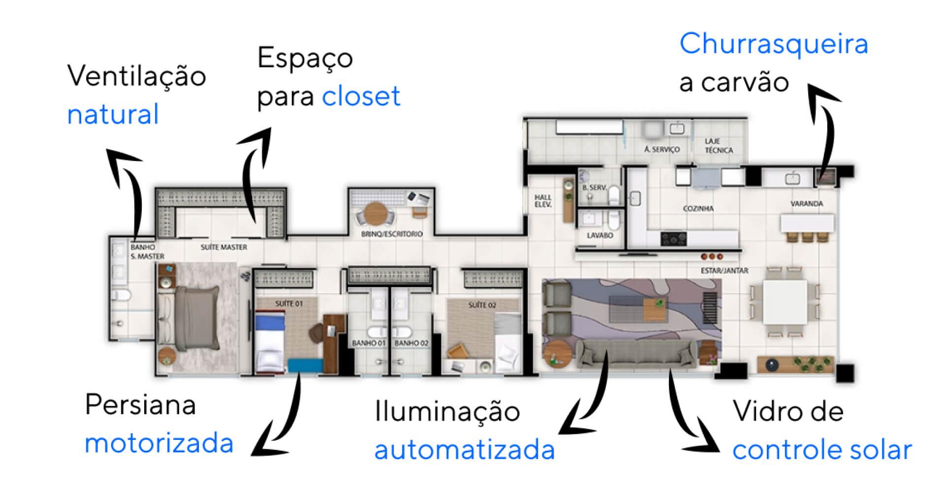 Planta do Horizonte Flamboyant. floorplan
