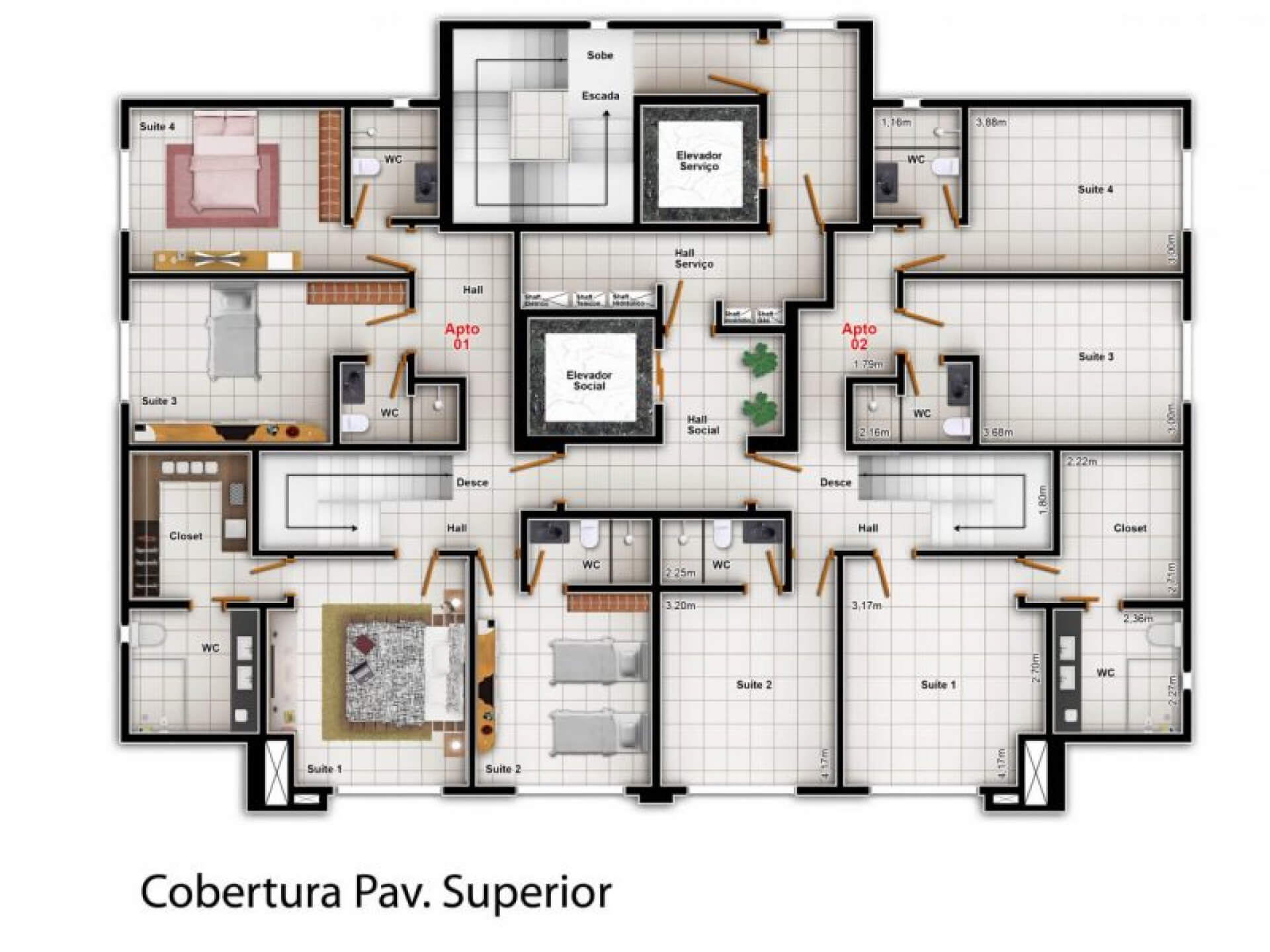 Planta do Maison Miramar Condomínio Club. floorplan