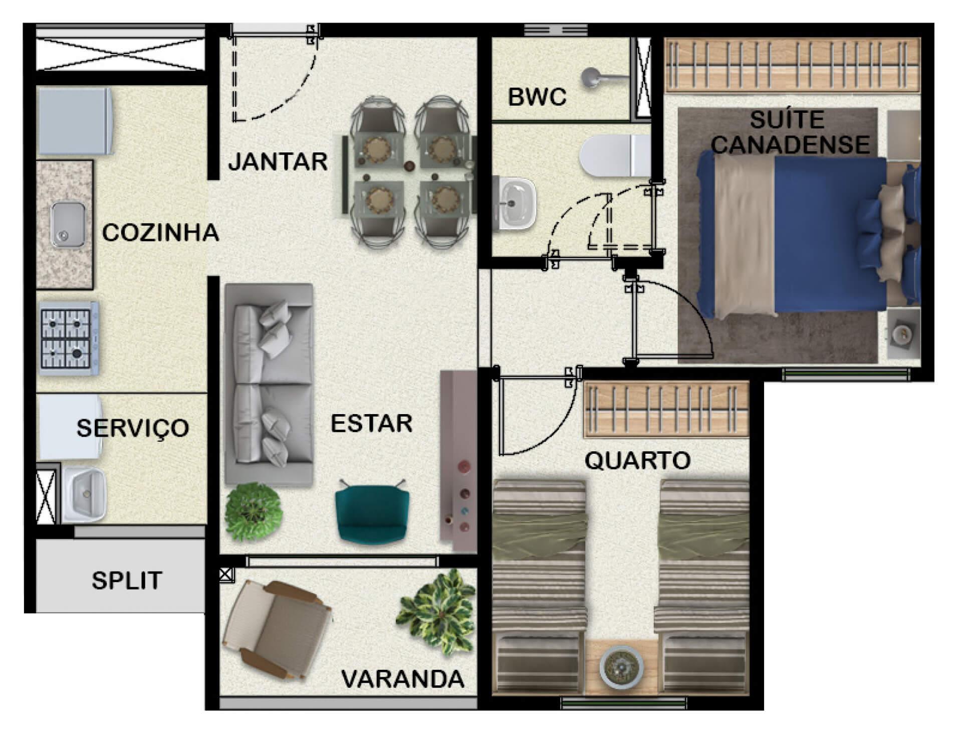 45 M² - 2 QUARTOS, SENDO 1 SUÍTE.