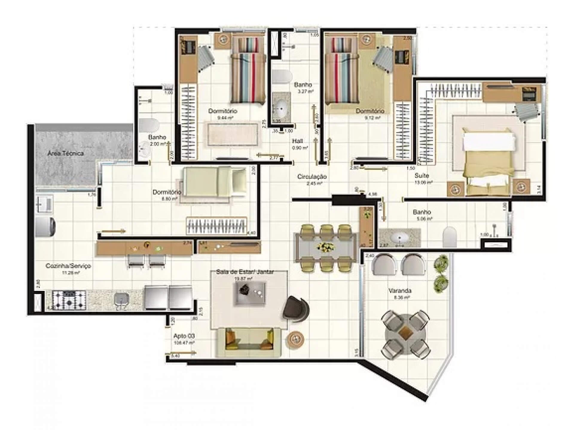Planta do Rio Poty Boulevard. floorplan