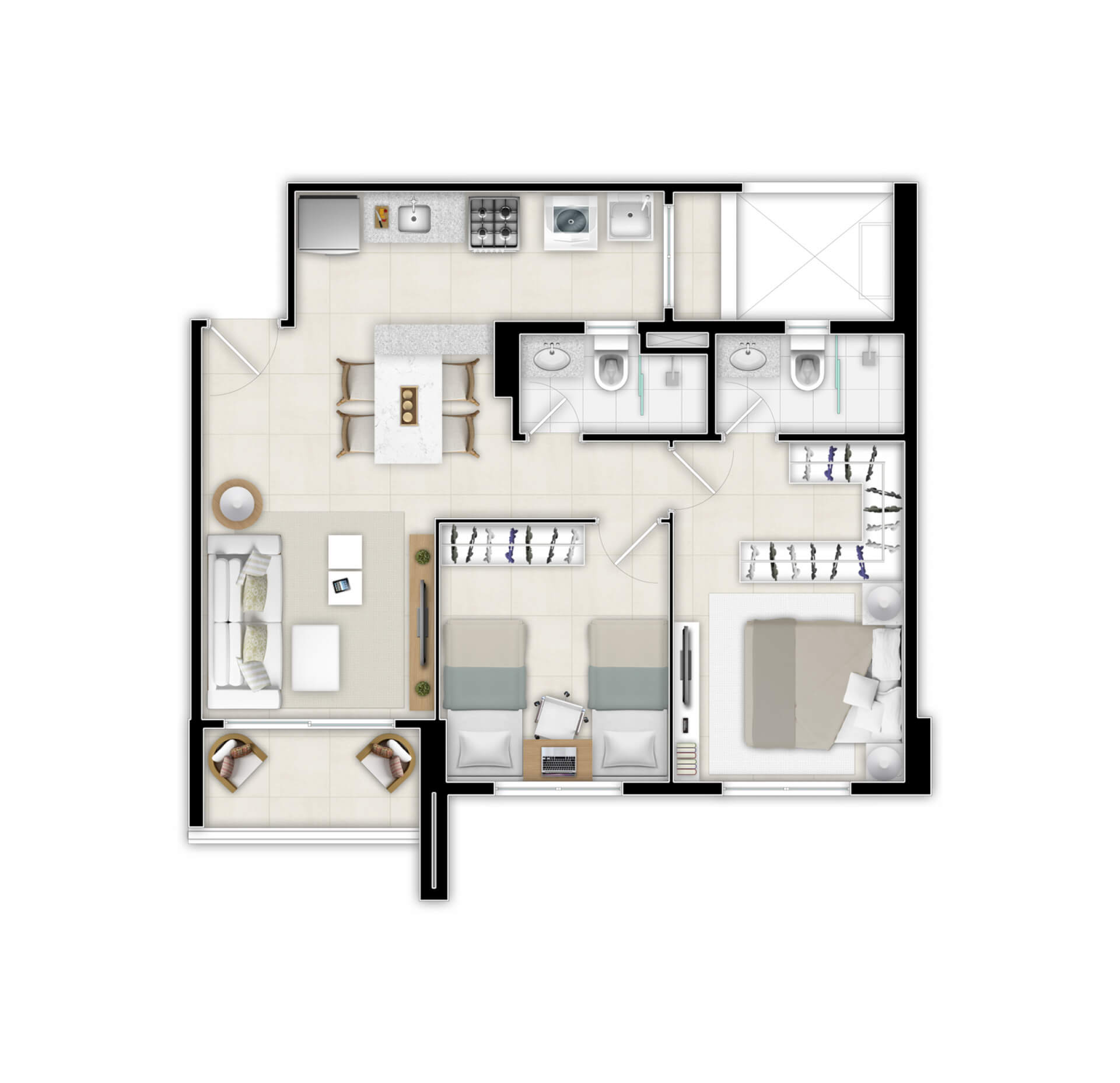 Planta do Duo Residence. floorplan