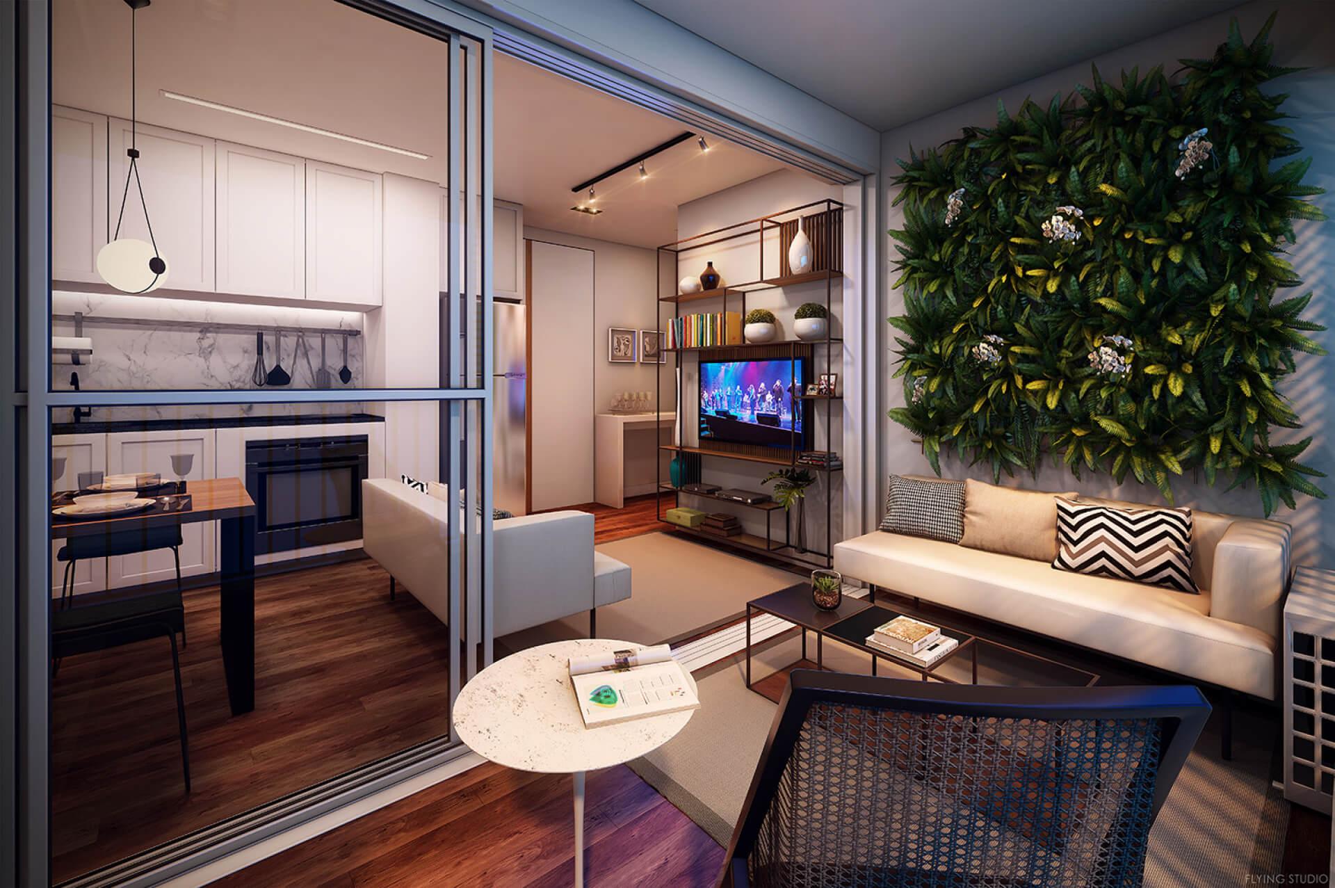 LIVING do apto de 38 m² com infra para ar-condicionado e espaço de estar. O living é totalmente integrado mas possui boa fluidez e mantém a separação das funções, com cozinha aberta, sala de TV e mesa para refeições.