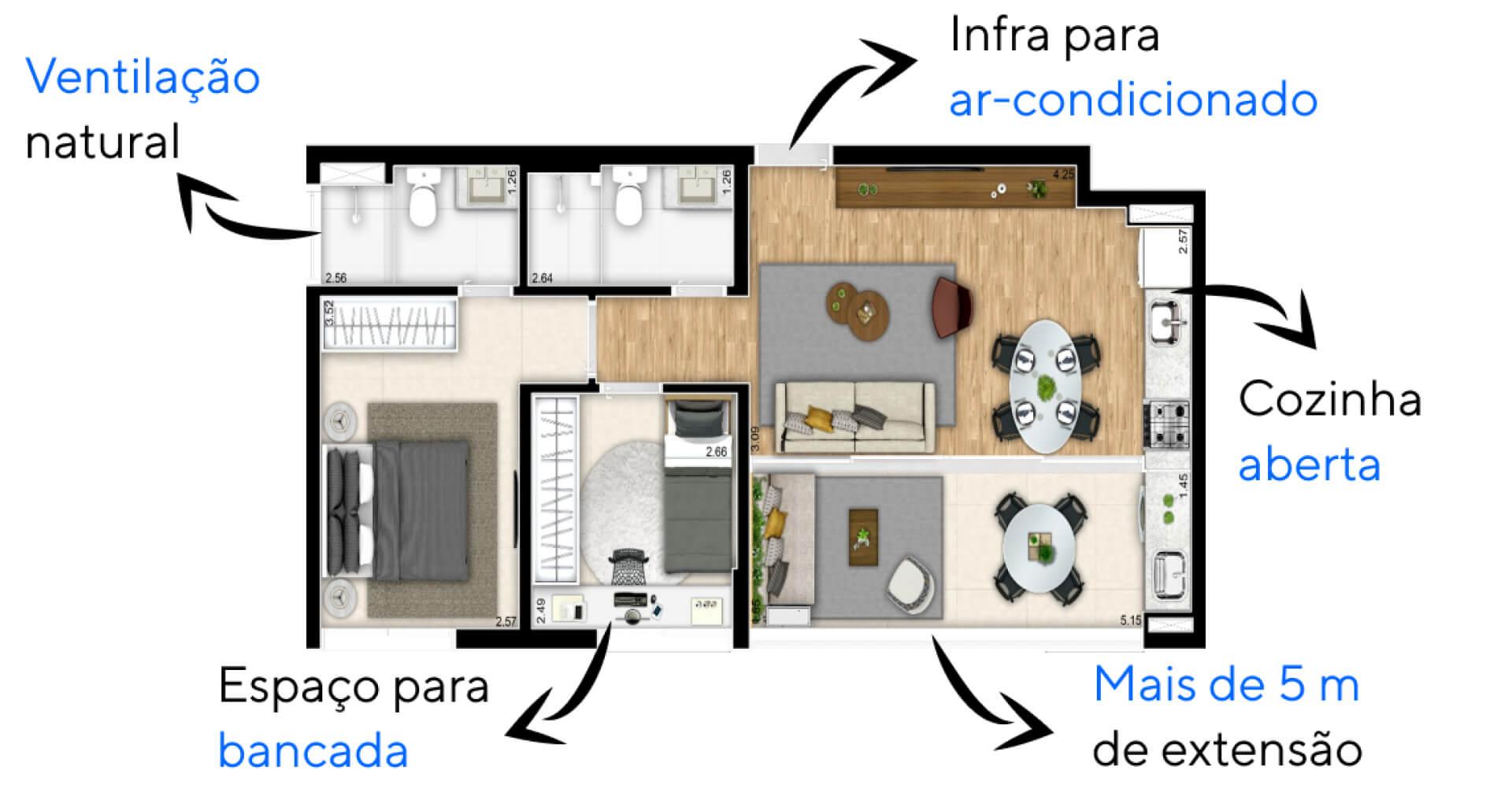 62 M² - 2 DORMITÓRIOS, SENDO 1 SUÍTE. Apartamentos do Just Brooklin com porta de correr em vidro que permite conexão entre os ambientes, integrando totalmente a área social. Destaque para a varanda com mais de 5 m de extensão.