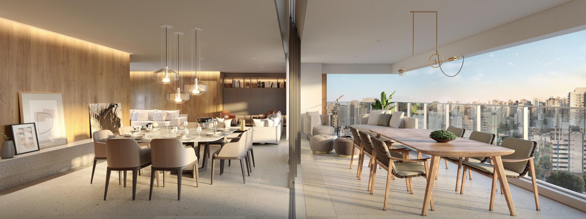 LIVING do apto de 200 m² com ampla área social integrada ao terraço, o piso nivelado entre os ambientes possibilita que a conexão seja fluida e sutil. O terraço com guarda-corpo em vidro permite uma vista 180° da cidade.