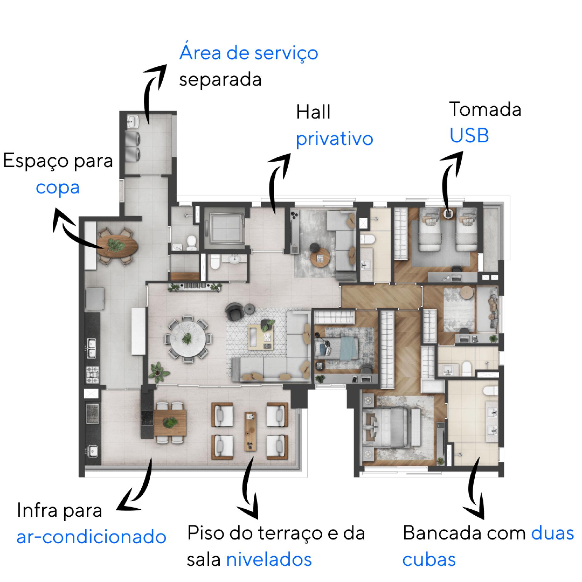 200 M² - 4 DORMITÓRIOS, SENDO 2 SUÍTES. Apartamentos do Praça Perdizes com espaço para closet na suíte master. A cozinha é um espaço completo que faz conexão com o terraço e possui copa, cuba dupla, ponto de triturador de alimentos e lava-louças.