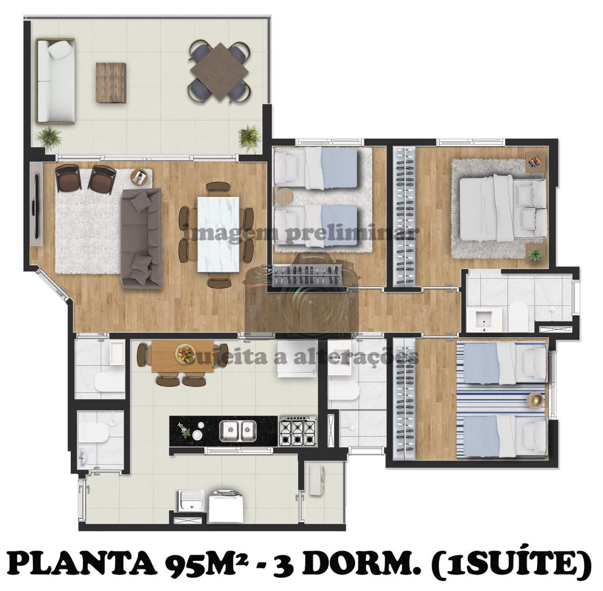 95 M² - 3 DORMITÓRIOS, SENDO 1 SUÍTE.
