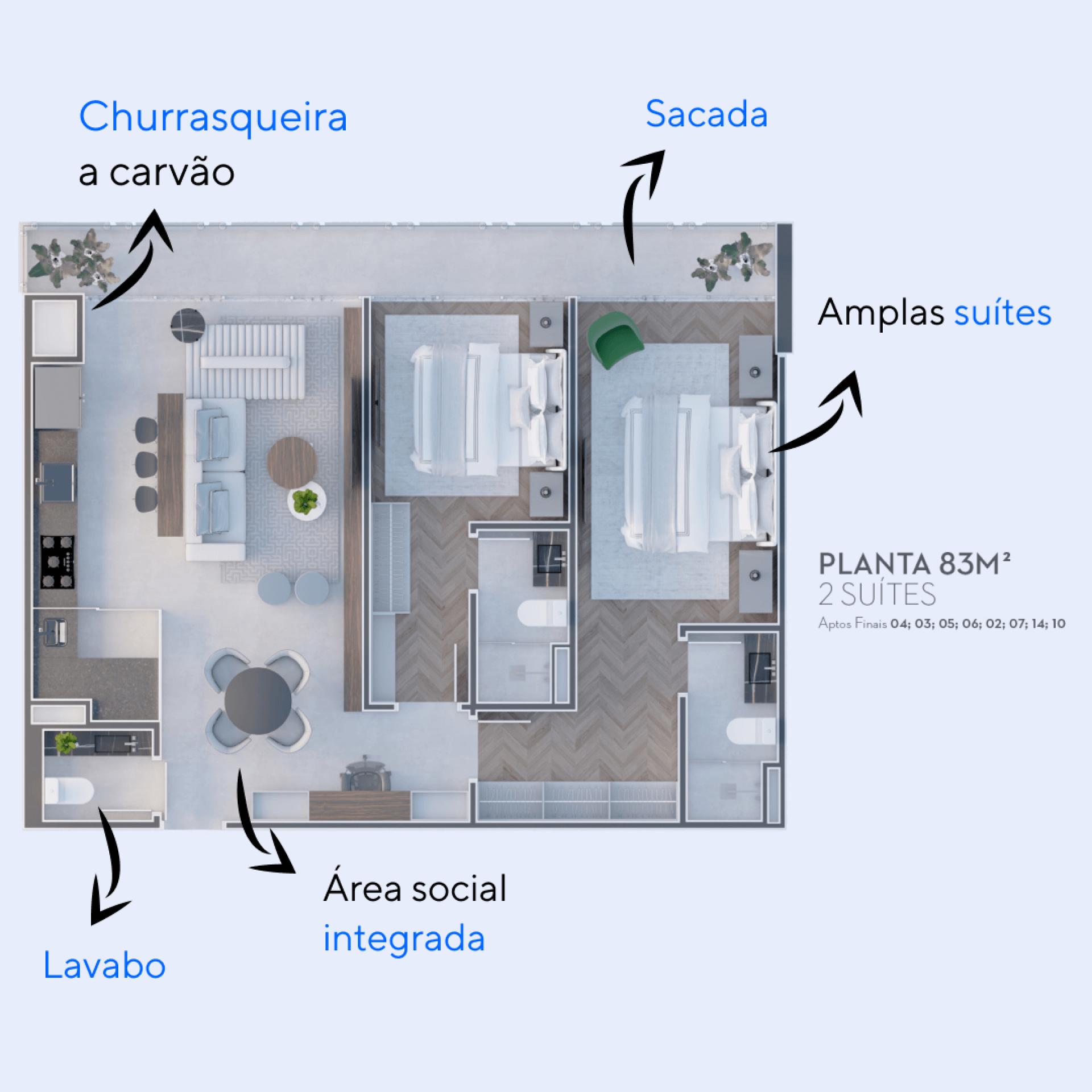 83 M² - 2 SUÍTES. Apartamentos no The Spot One com área social integrada à cozinha e amplas suítes que possuem acesso direto à sacada, proporcionando iluminação natural no interior de toda a residência.