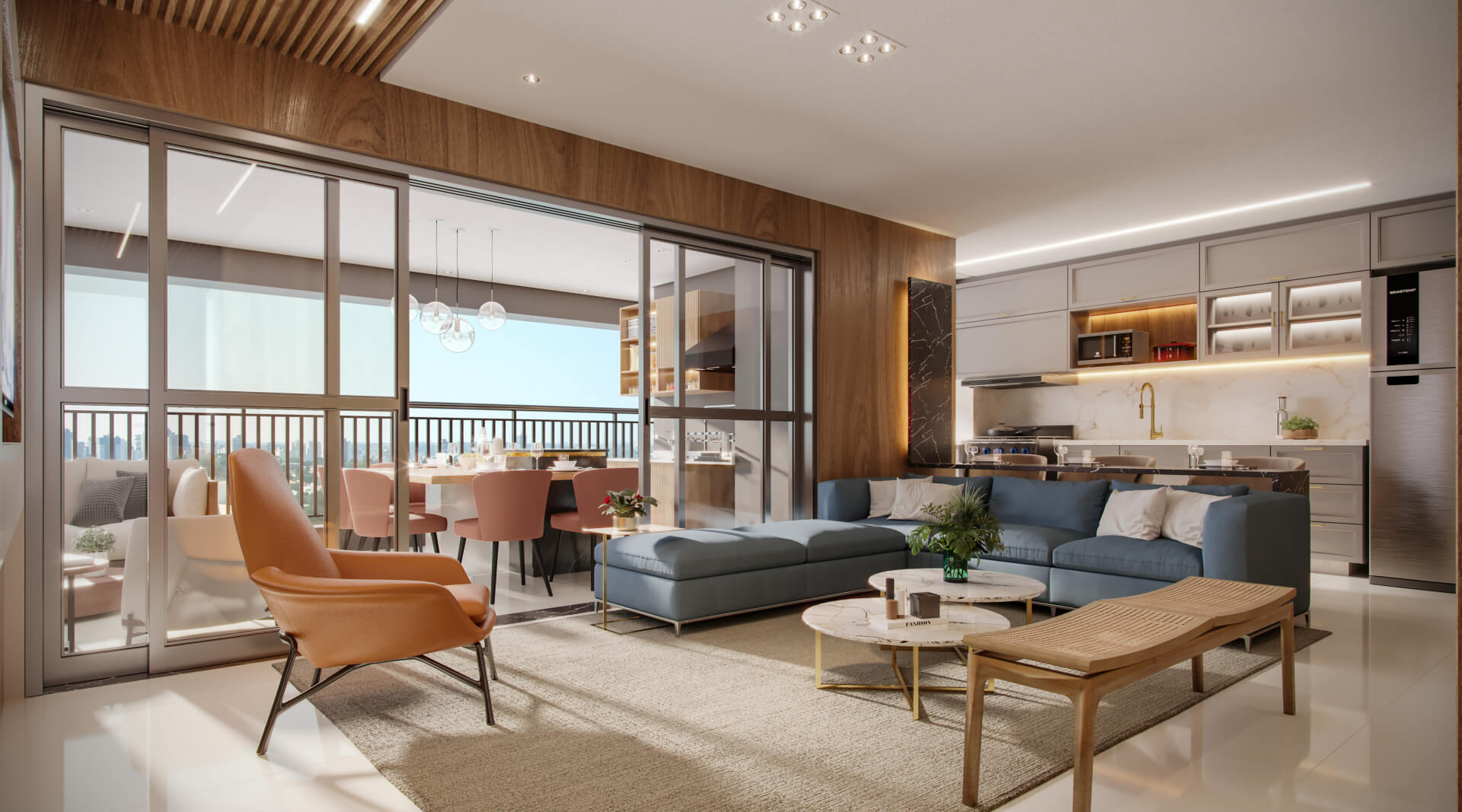 LIVING do apto de 128 m² integrado a cozinha e ao terraço, proporcionando maior fluidez e conexão entre os espaços sociais. Essa sugestão de configuração proporcionar um bom convívio entre os ambientes, ideal para quem gosta de receber.