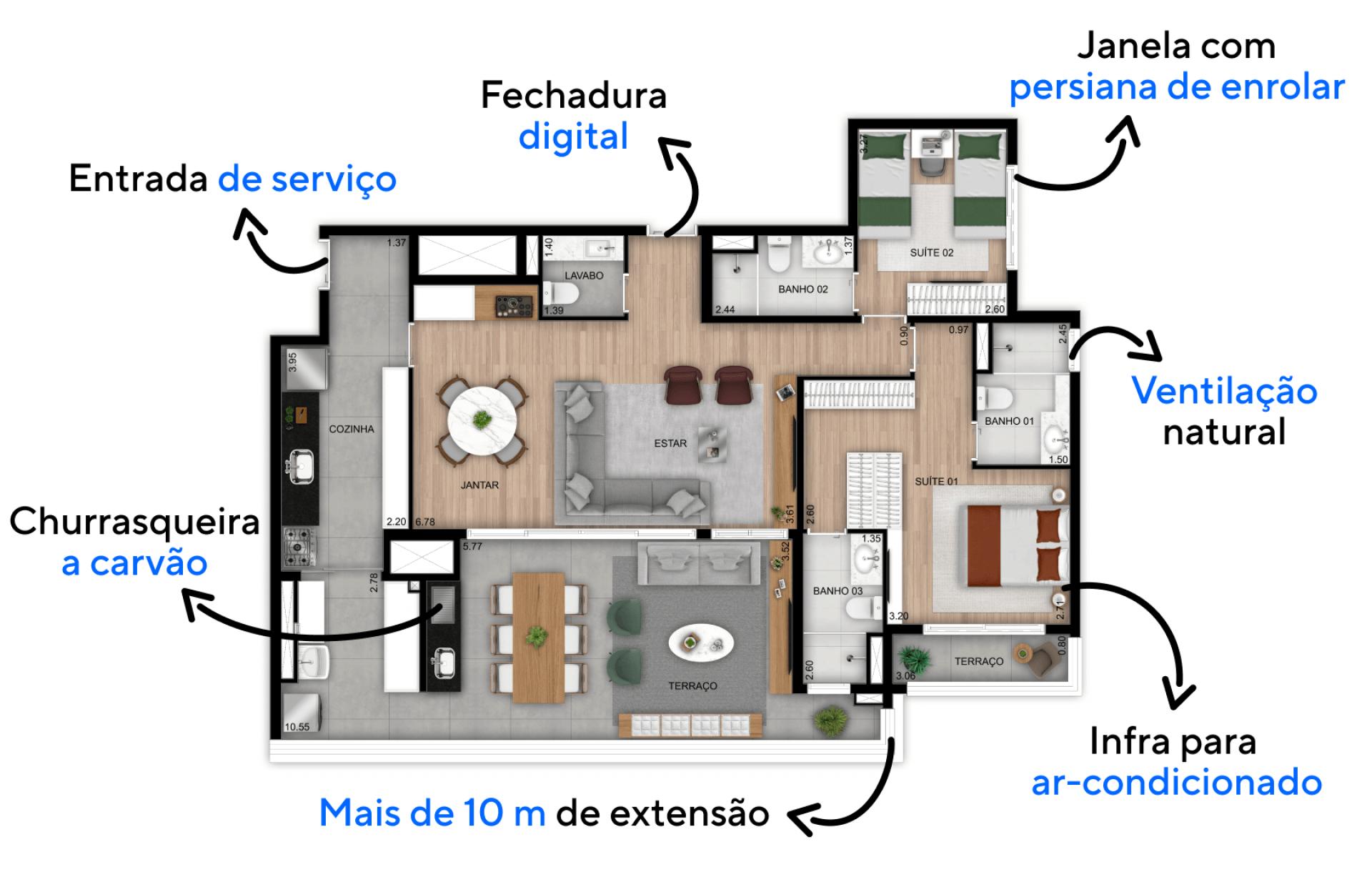 128 M² - 2 SUÍTES. Apartamentos com boa setorização entre áreas sociais e espaços íntimos, proporcionando maior privacidade quando necessário. Destaque para suíte master com espaço para closet, banheiro Sr. e Sra. e terraço íntimo.