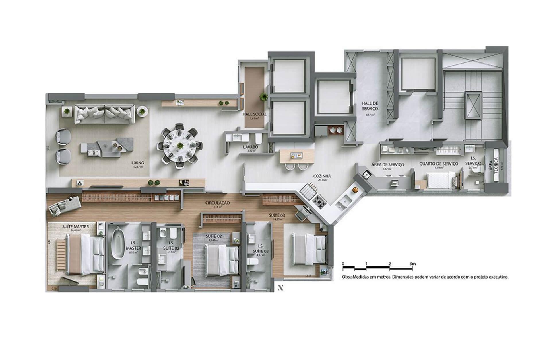 193 M² - 3 SUÍTES.