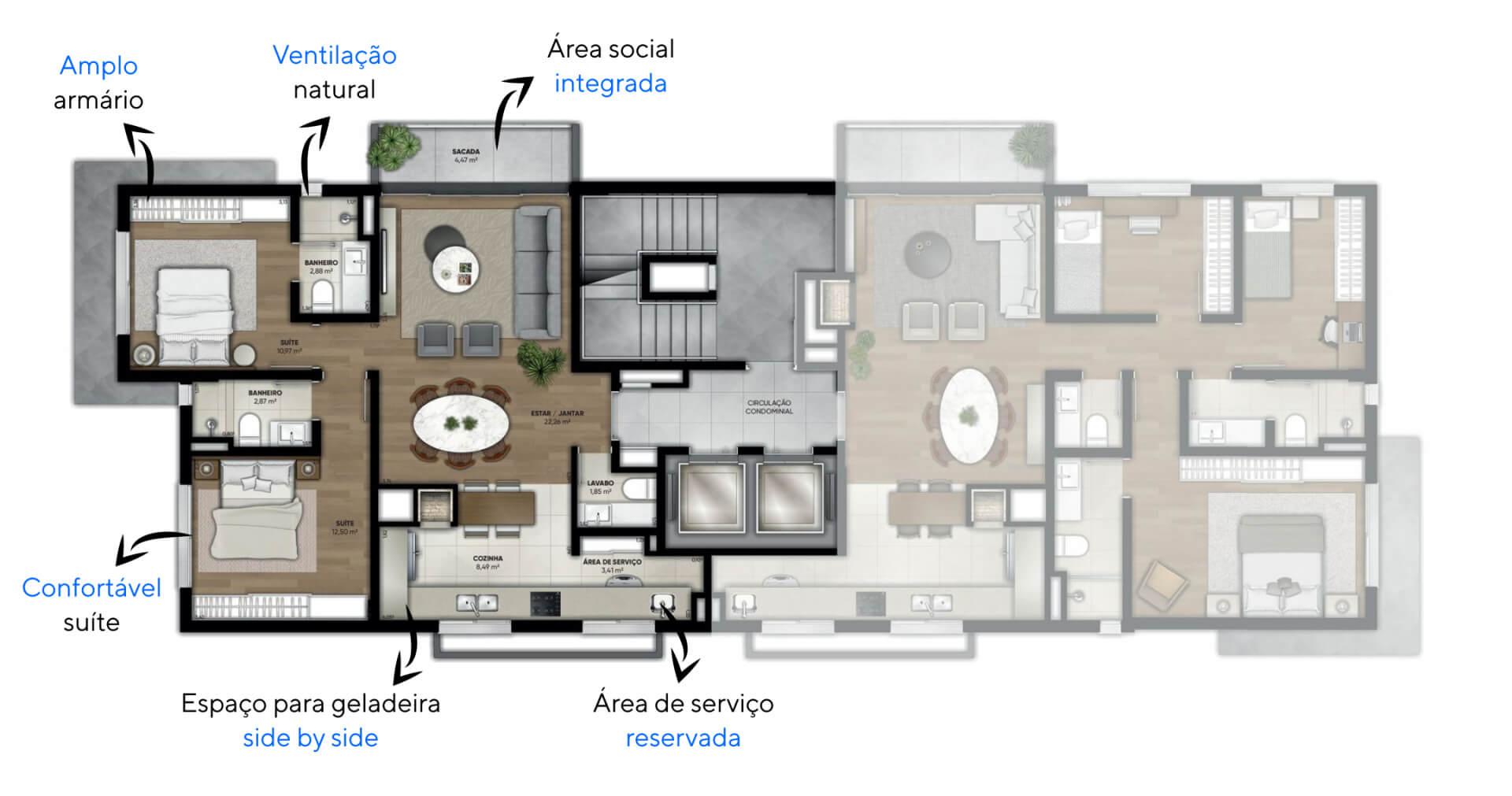 """87 M² - 2 SUÍTES. Apartamentos do Montecarlo com cozinha em """"L"""" com espaço para geladeira side by side e churrasqueira entregue. Destaque para as duas suítes com cama de casal, amplo armário e banheiro com iluminação natural."""