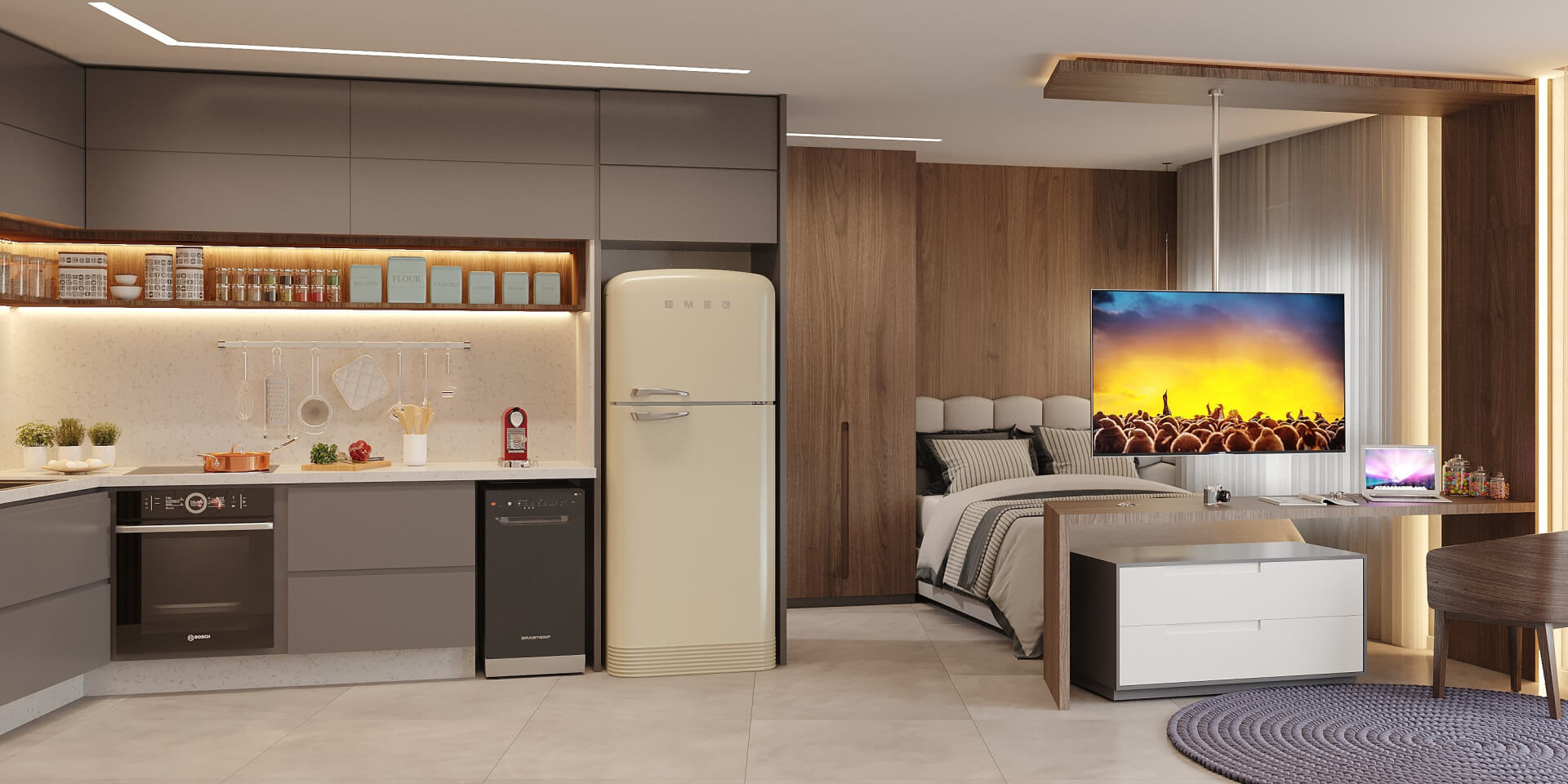 STUDIO TIPO com diferentes ambientes conectados através da sugestão de decoração. O piso único permite que a circulação se torne mais fluida e proporcione a sensação de amplitude para o espaço.