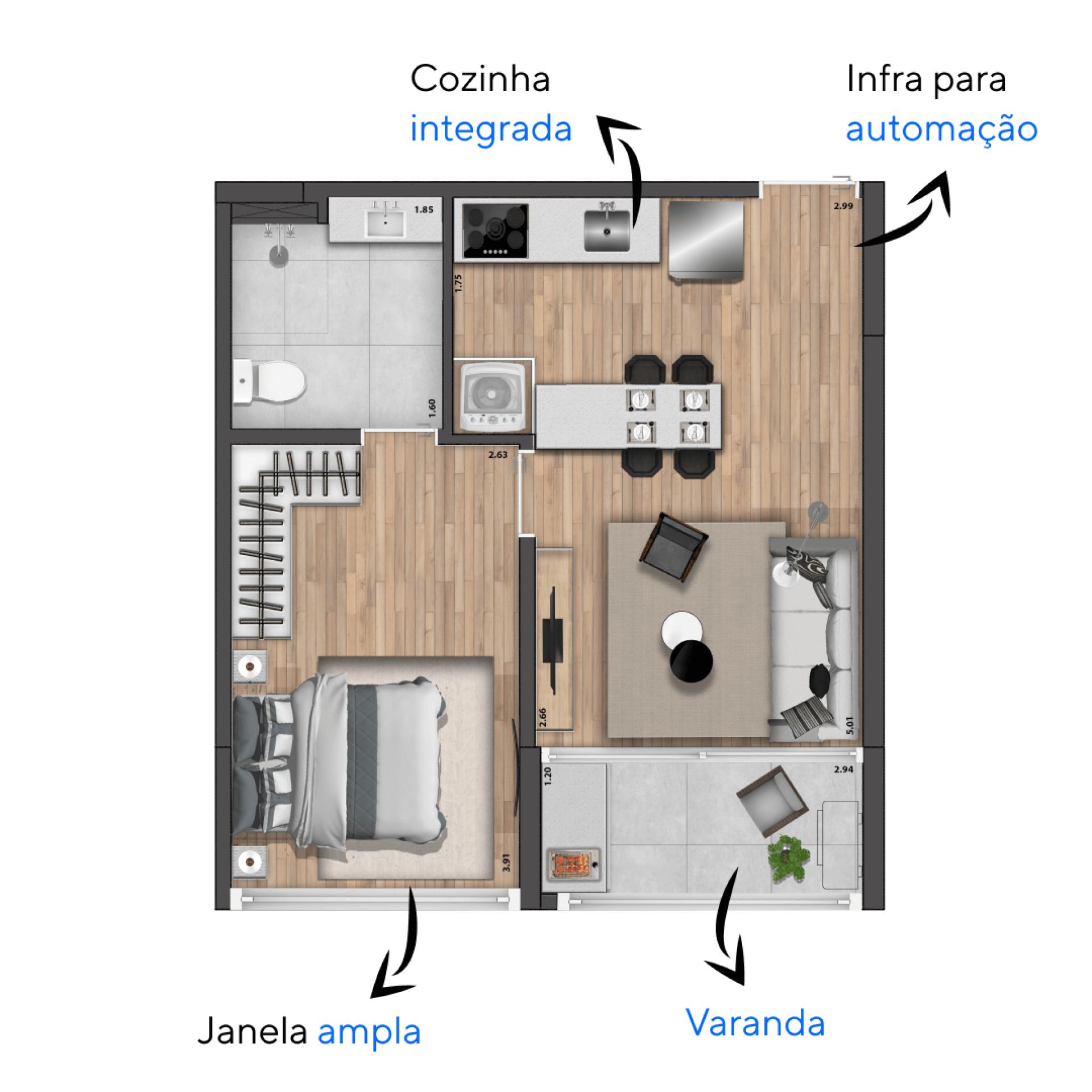 38 M² - 1 SUÍTE. Apartamentos do Single Tolle com sugestão de bancada que funciona como mesa de jantar, otimizando a área social. A janela ampla na suíte, possui bandeira fixa inferior, favorecendo a entrada de iluminação natural em todo o ambiente.