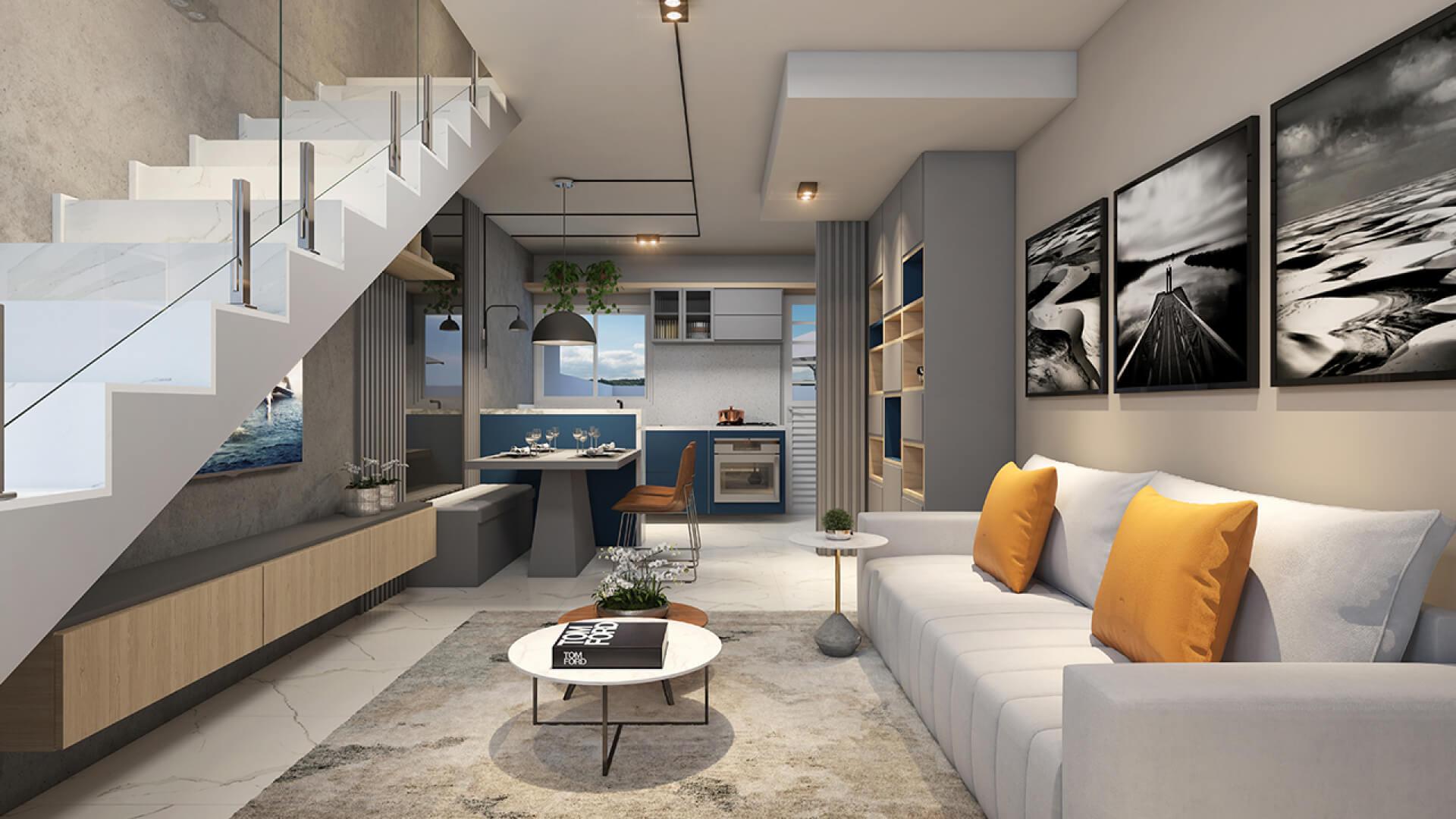 SALA do apto de 54 m².