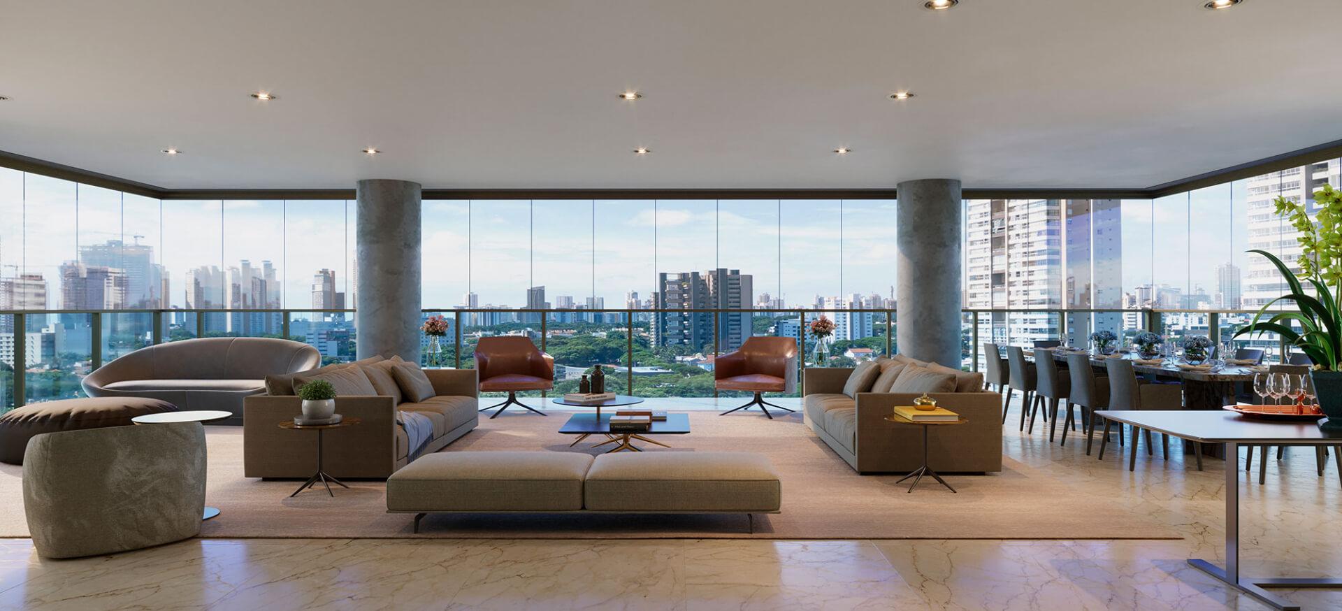 LIVING do apartamento de 358 m².