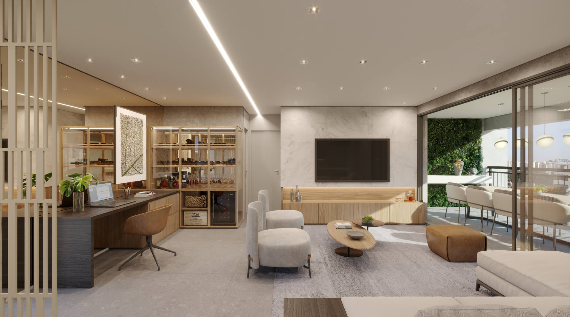 LIVING do apto de 130 m².