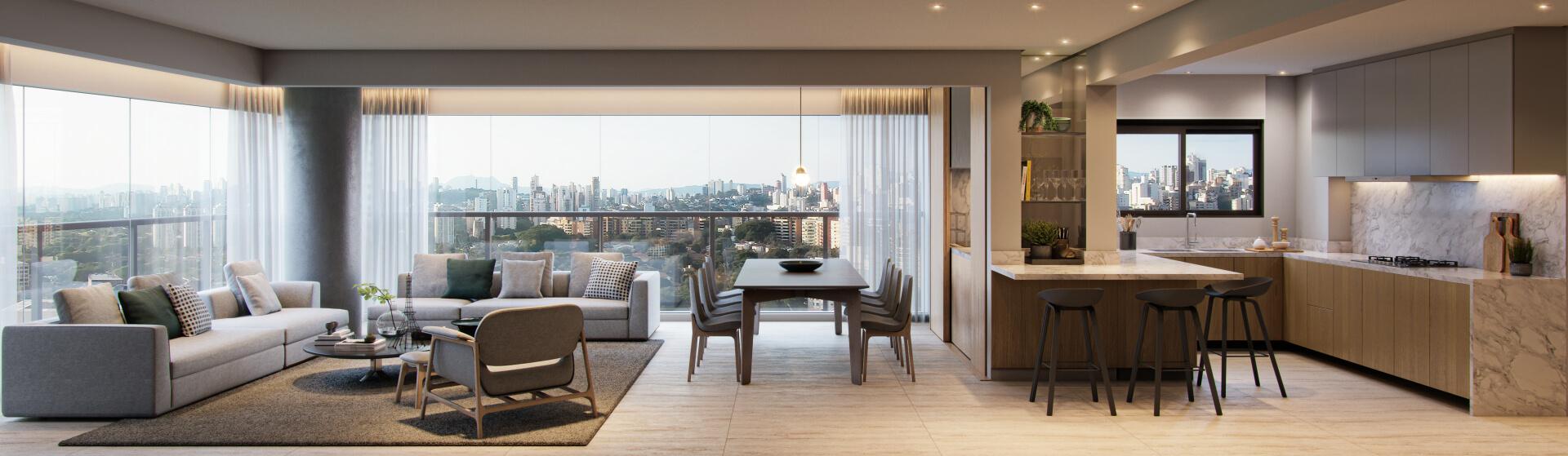 LIVING da apto de 153 m² com amplo living que se conecta ao espaço gourmet com churrasqueira e bancada de apoio entregue. Destaque para a cozinha com janela para iluminação direta, criando um espaço arejado para o preparo de refeições.