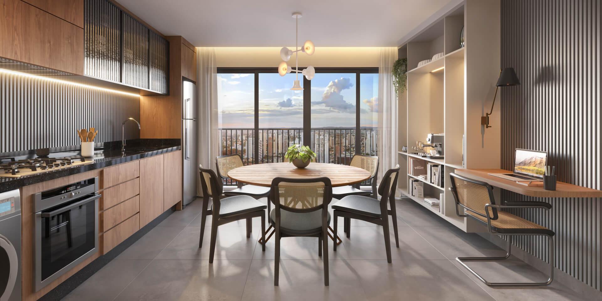 LIVING do apto 67 m² que faz integração com a cozinha proporcionando uma configuração funcional na qual todos os ambientes recebem luz natural.
