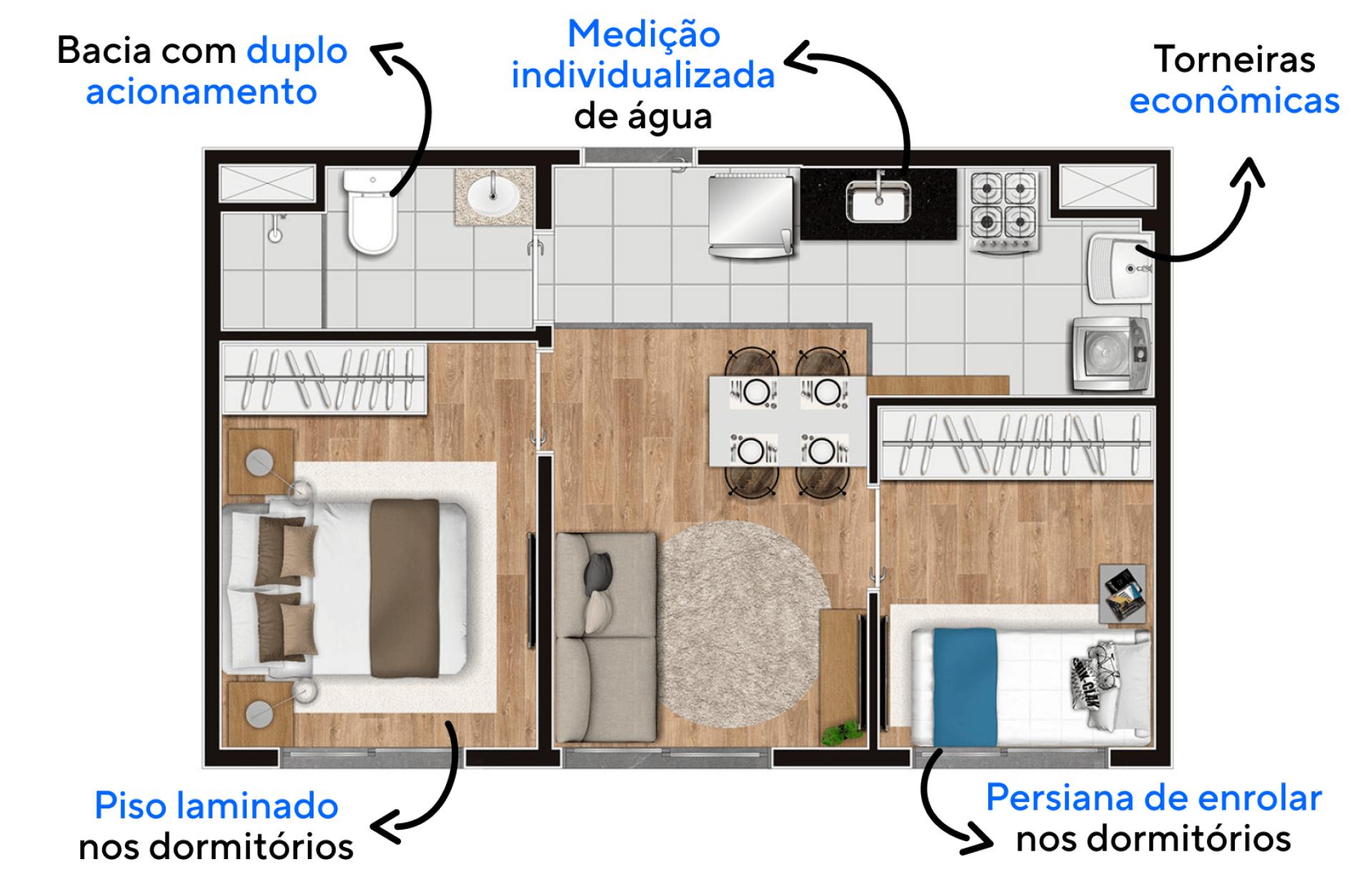 35 M² - 2 QUARTOS. Apartamentos com confortáveis dormitórios e área social ao centro. Destaque para a cozinha, que possui área de serviço com ponto para máquina de lavar roupas.