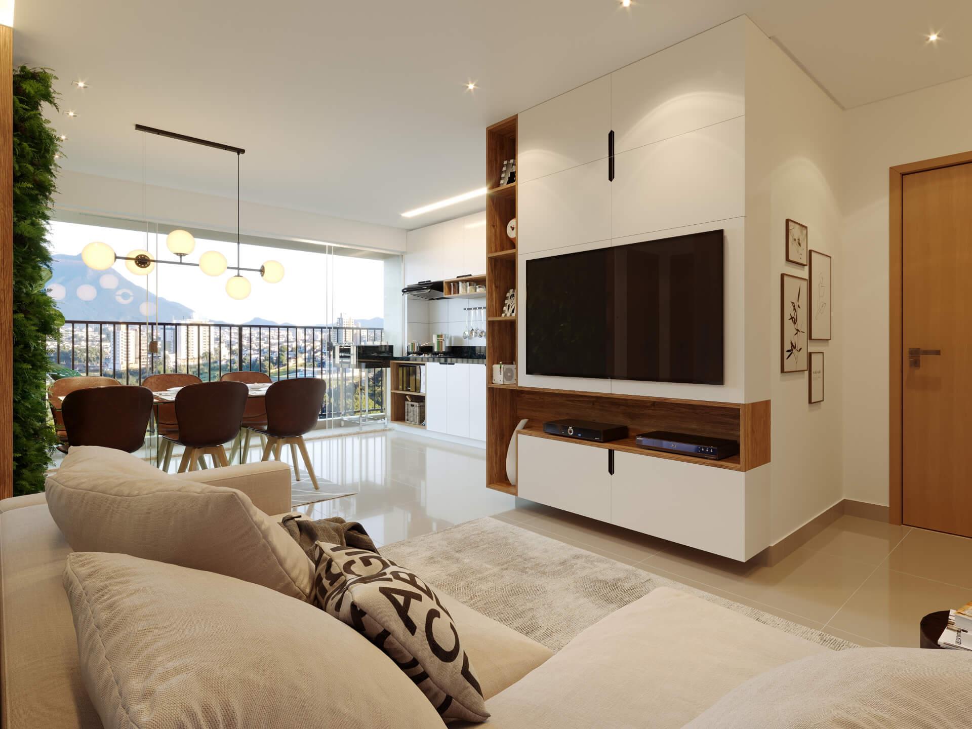 SALA do apto de 81 m².