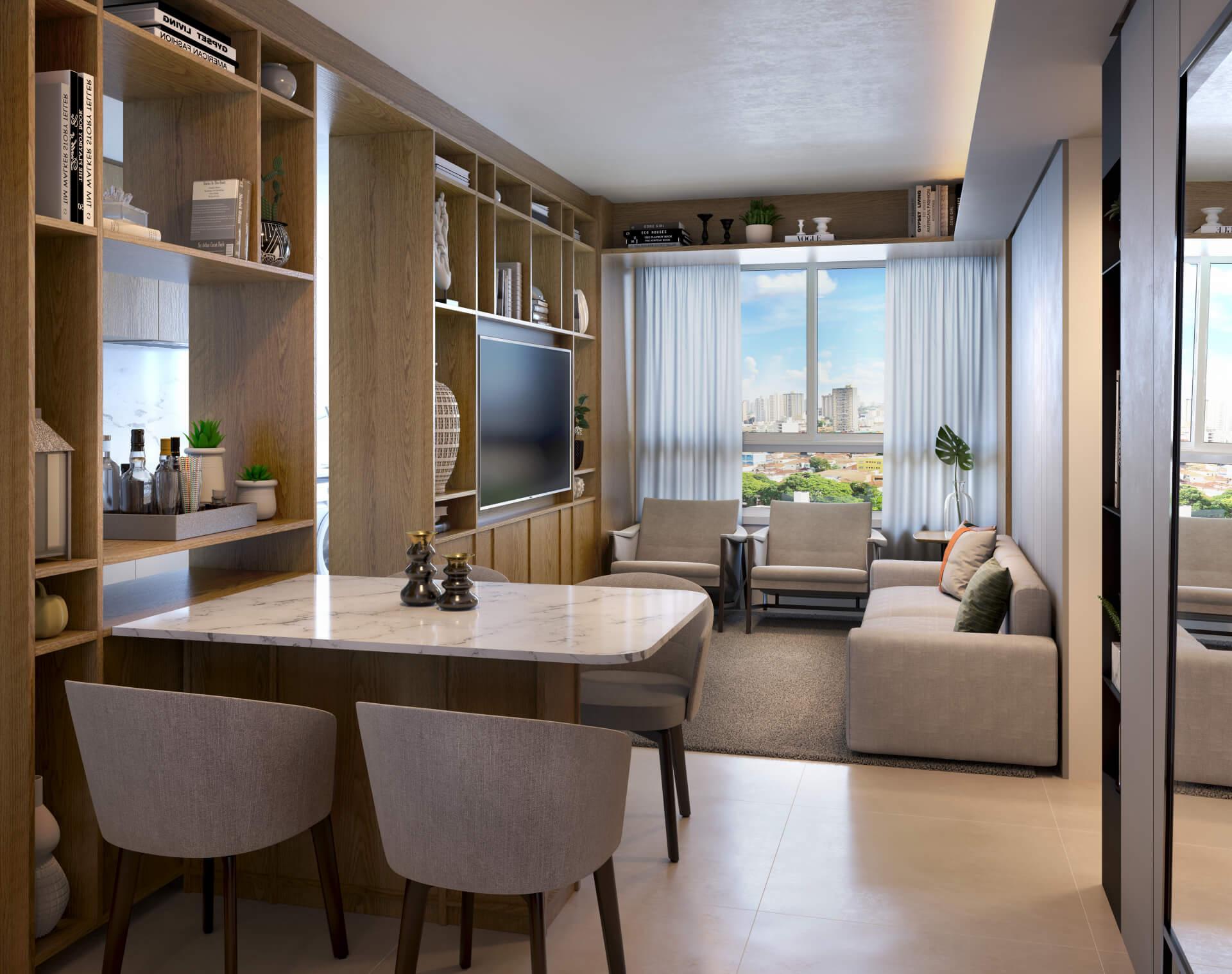 LIVING do apto de 2 suítes integrando os ambientes de estar e jantar. A confortável área social é servida por um lavabo, proporcionando privacidade aos ambientes íntimos.
