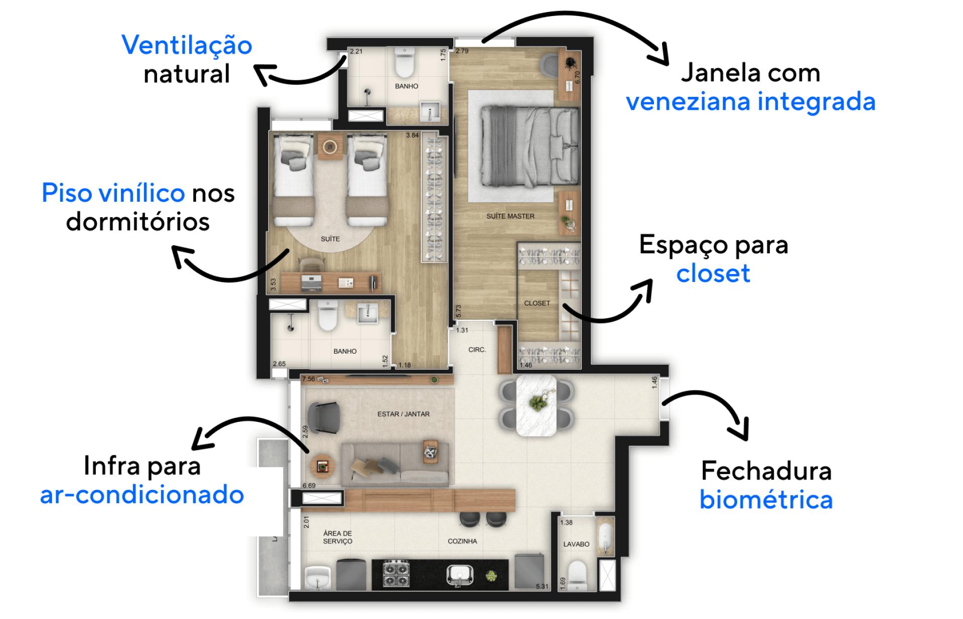 77 M² - 2 SUÍTES. FINAL 6 - 6° AO 14° PAVIMENTO. Apartamentos com amplas suítes permitindo uma ótima área de descanso e colocação de bancada para trabalho/estudos. Destaque para a suíte master, com espaço para cama king size e para closet.