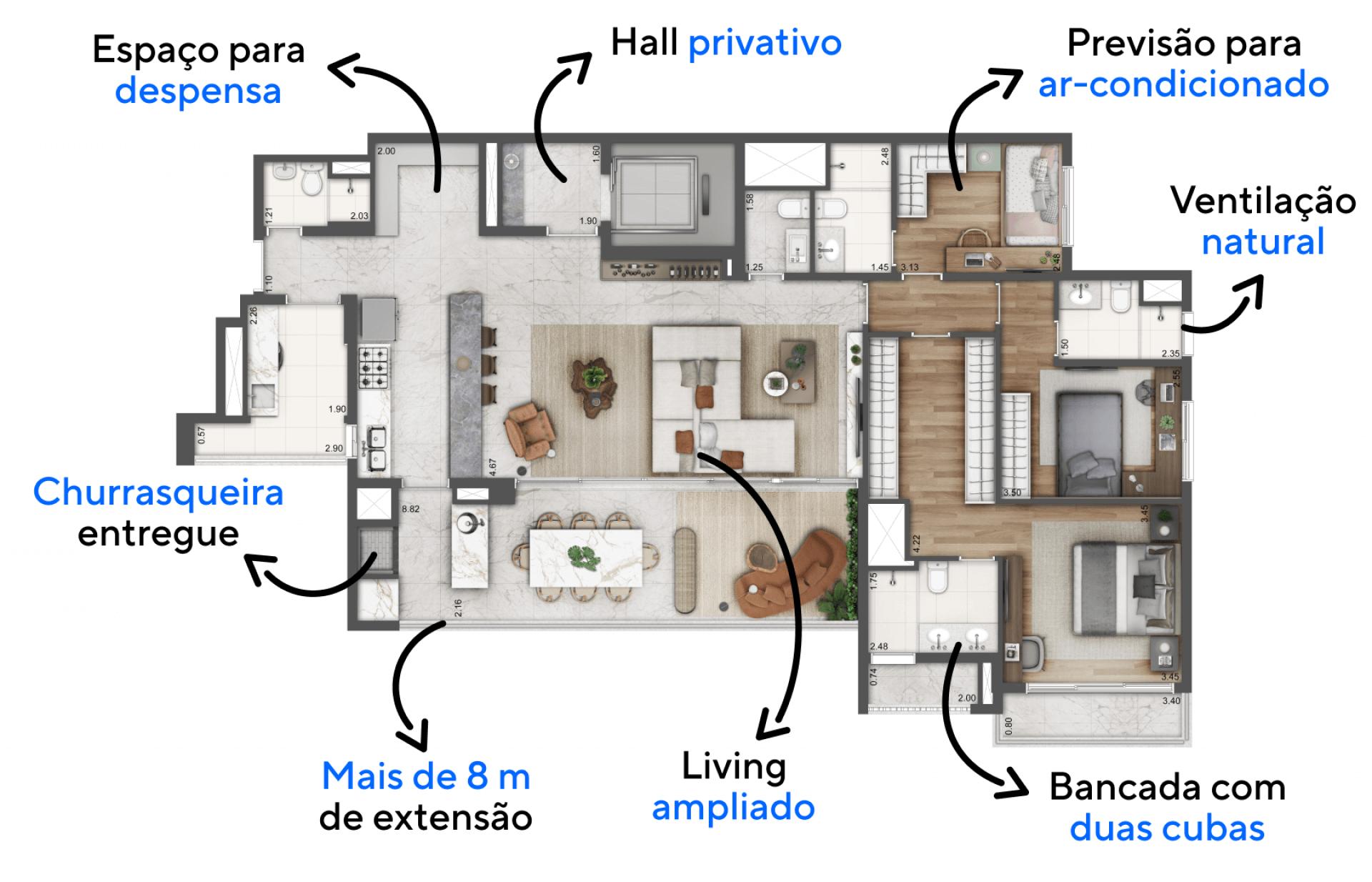 180 M² - 3 SUÍTES. Apartamentos com living ampliado, criando uma confortável área social que se conecta ao terraço gourmet. Destaque para cozinha aberta integrada ao living, uma configuração que permite maior fluidez entre os ambientes.