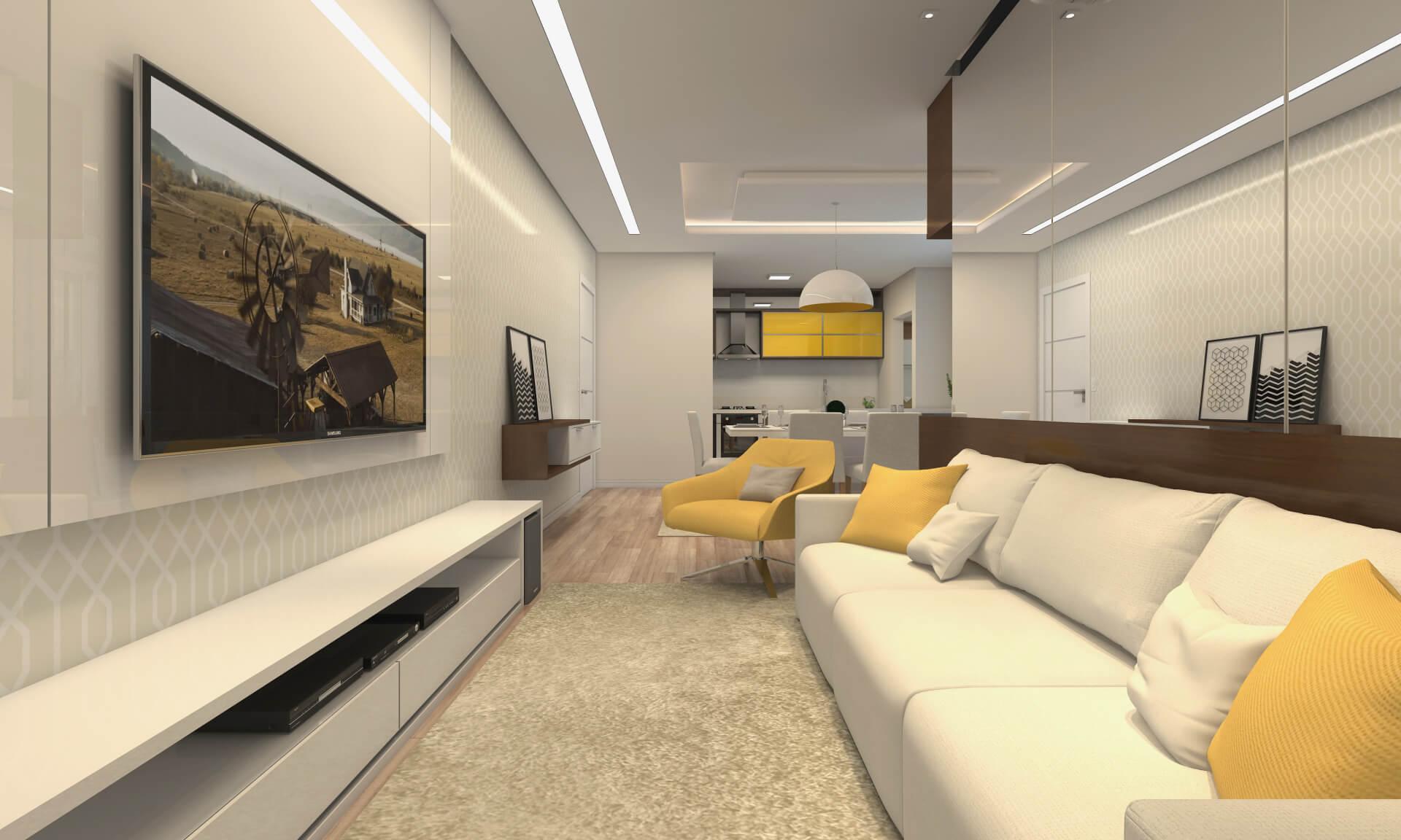 LIVING do apto de 161 m².