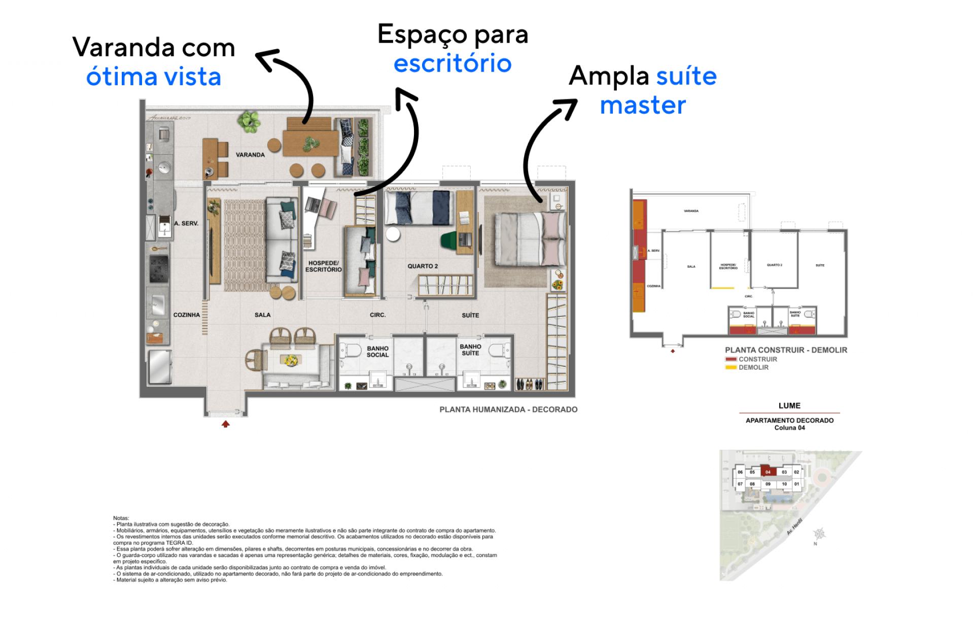 3 QUARTOS, SENDO 1 SUÍTE. Apartamento com possibilidade de escritório, um espaço multifuncional que também pode funcionar como quarto de hóspedes.
