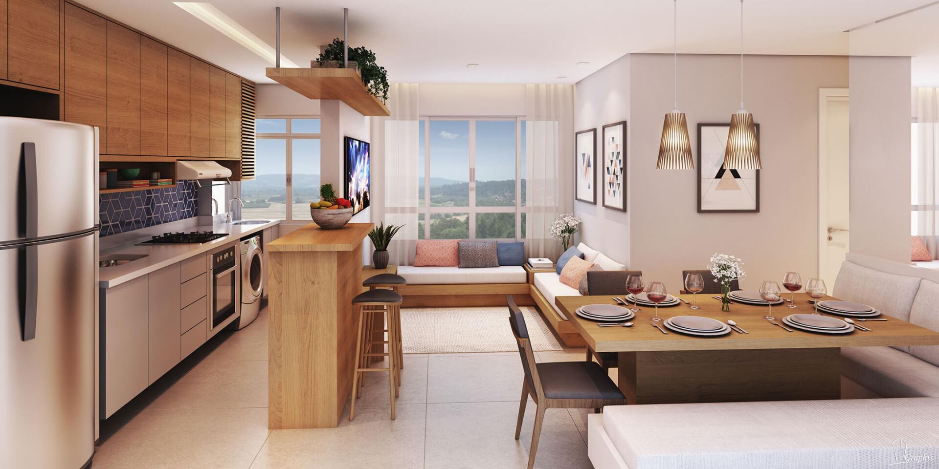 SALA do apto de 34 m² com bancada alta de refeições que integra a área social com parte da cozinha. Destaque para a ampla janela da sala, com dimensões maiores que o convencional que priorizam a entrada de iluminação natural.