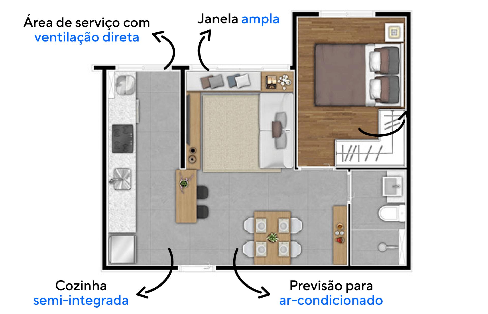 34 M² - 1 QUARTO. Apartamentos com ventilação natural direta em todos os ambientes. Destaque para a ampla janela da sala, com dimensões maiores que o convencional proporcionando ótima entrada de luz natural na sala.