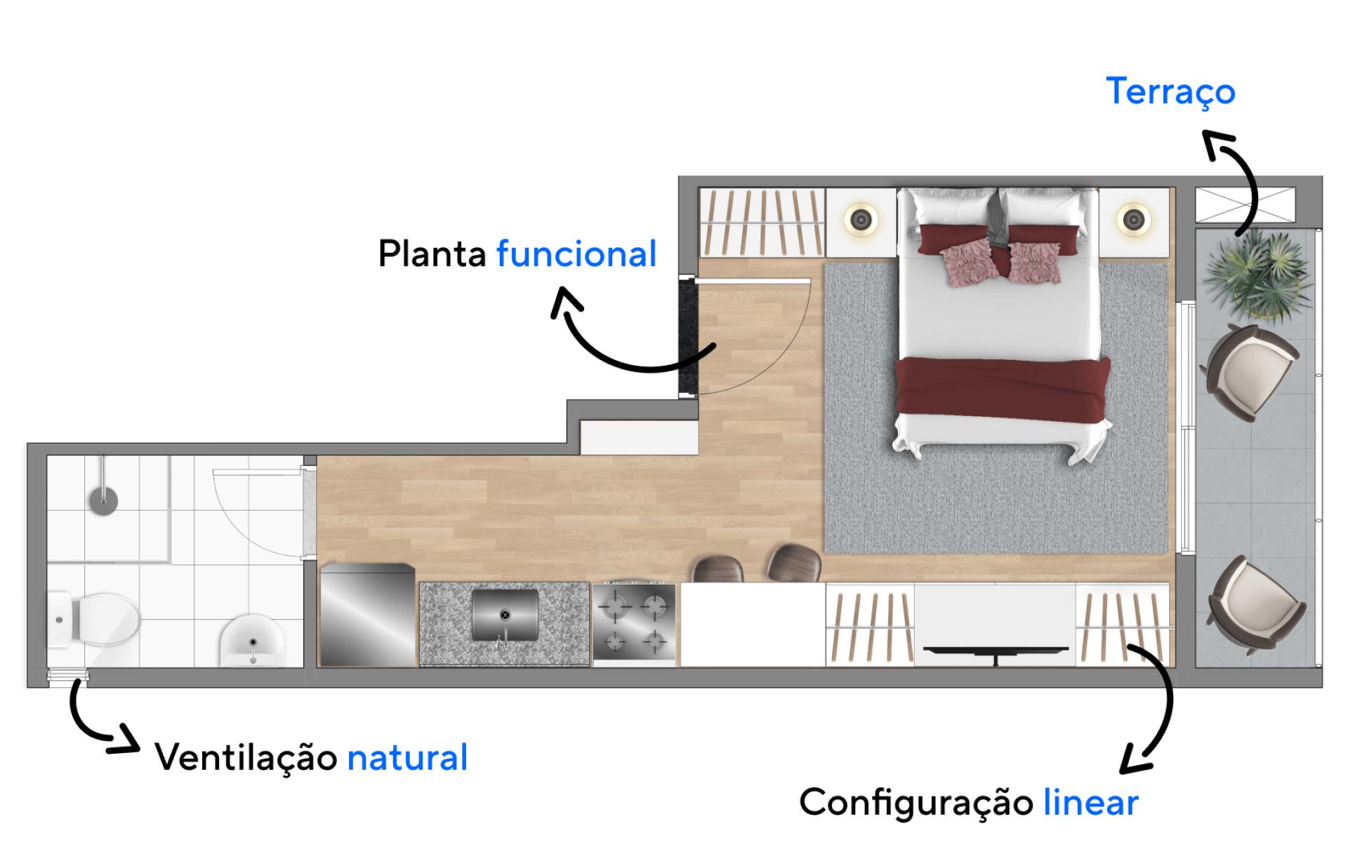 23 M² - STUDIO com planta funcional, nessa configuração a área interna do apartamento foi bem setorizada com base em suas funções, assim mesmo com um espaço integrado, você tem privacidade em cada momento.
