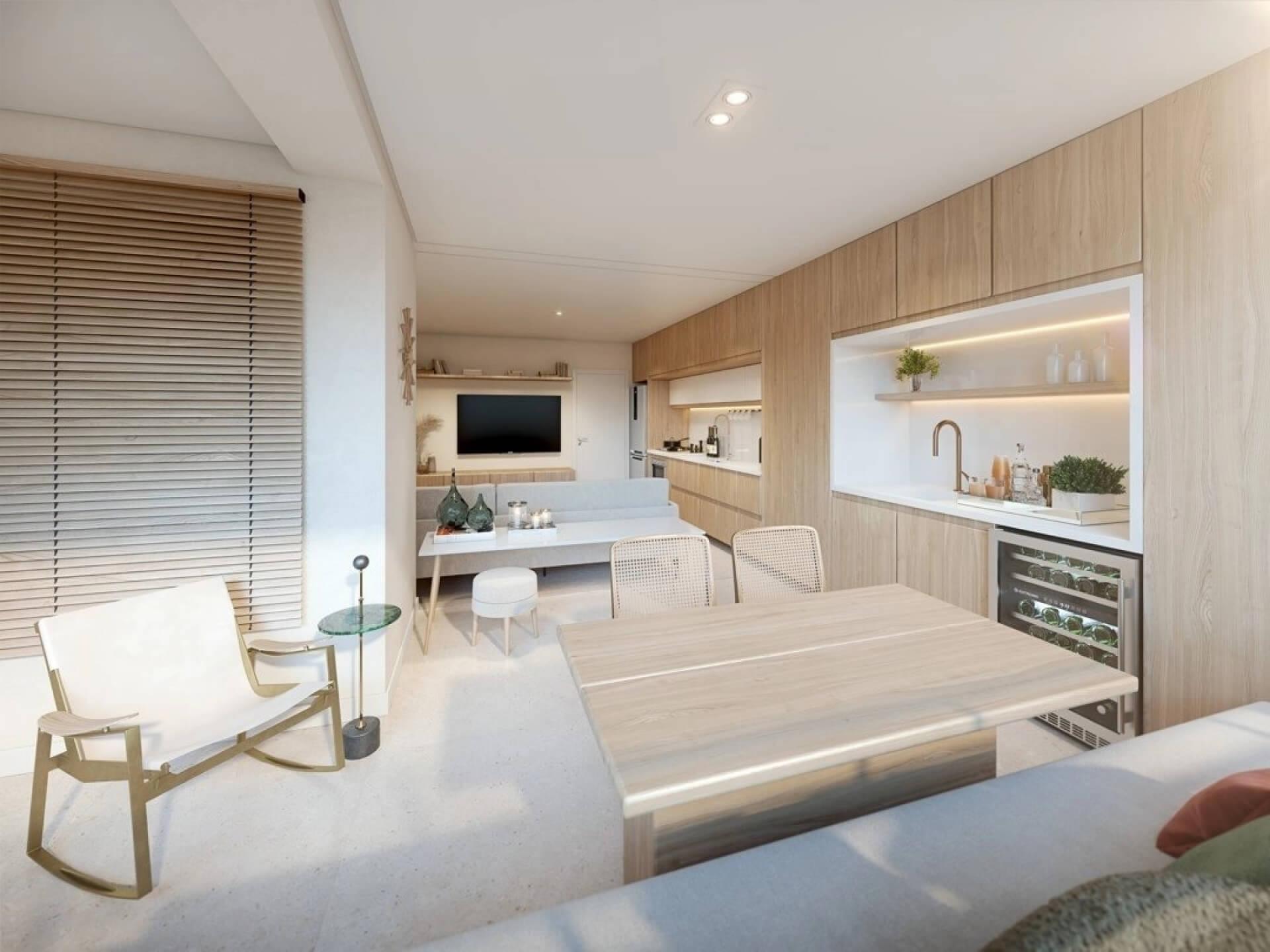 LIVING do apto de 61 m² com piso do terraço nivelado, permitindo integração total com os outros ambientes. A cozinha com configuração linear cria 2 espaços de funções distintas, uma para o preparo de refeições e outra para apoio da área gourmet.