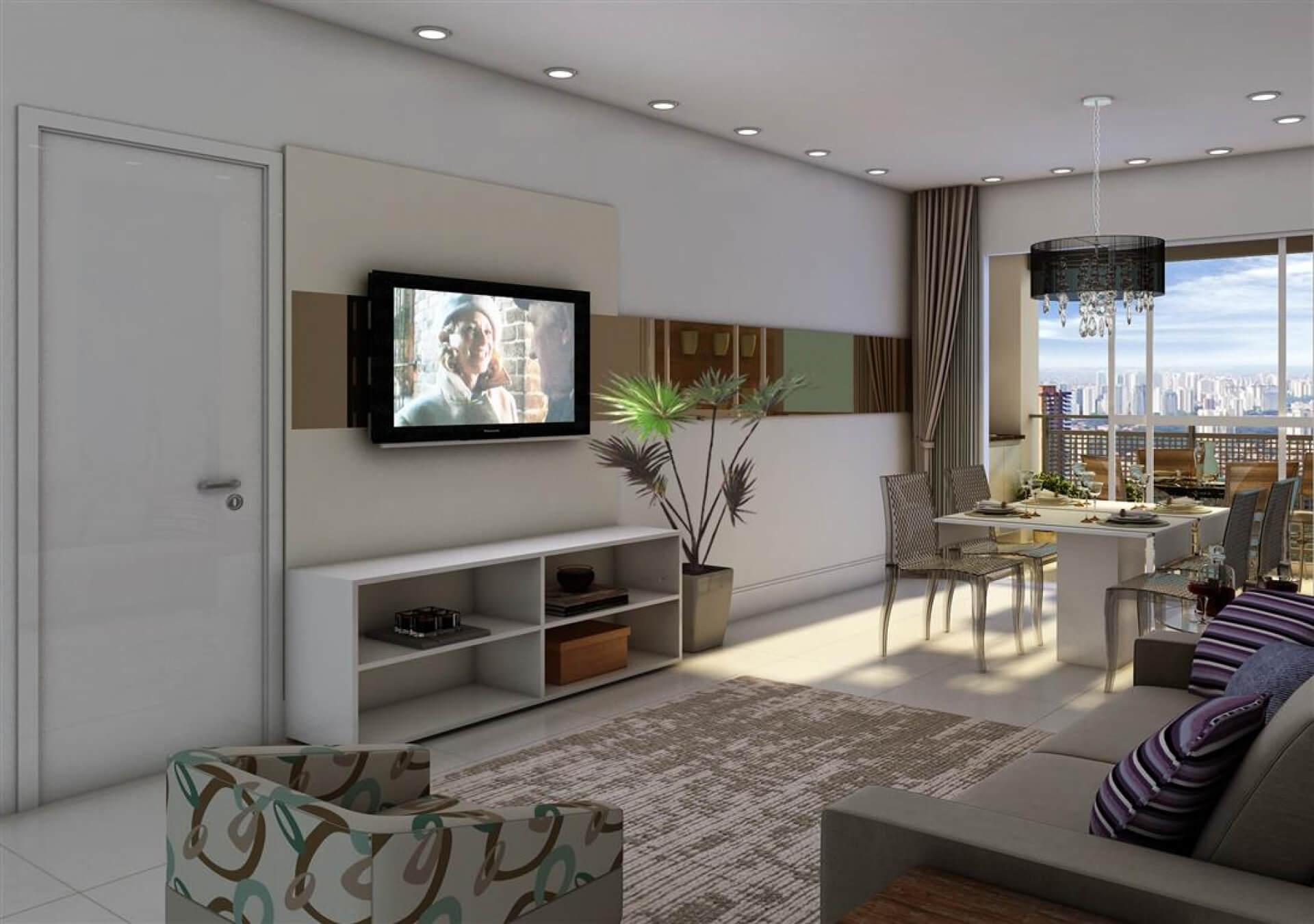 LIVING do apto de 58 m² com salas de jantar e estar integradas, proporcionando um confortável ambiente social para o dia a dia da família e também para receber convidados.