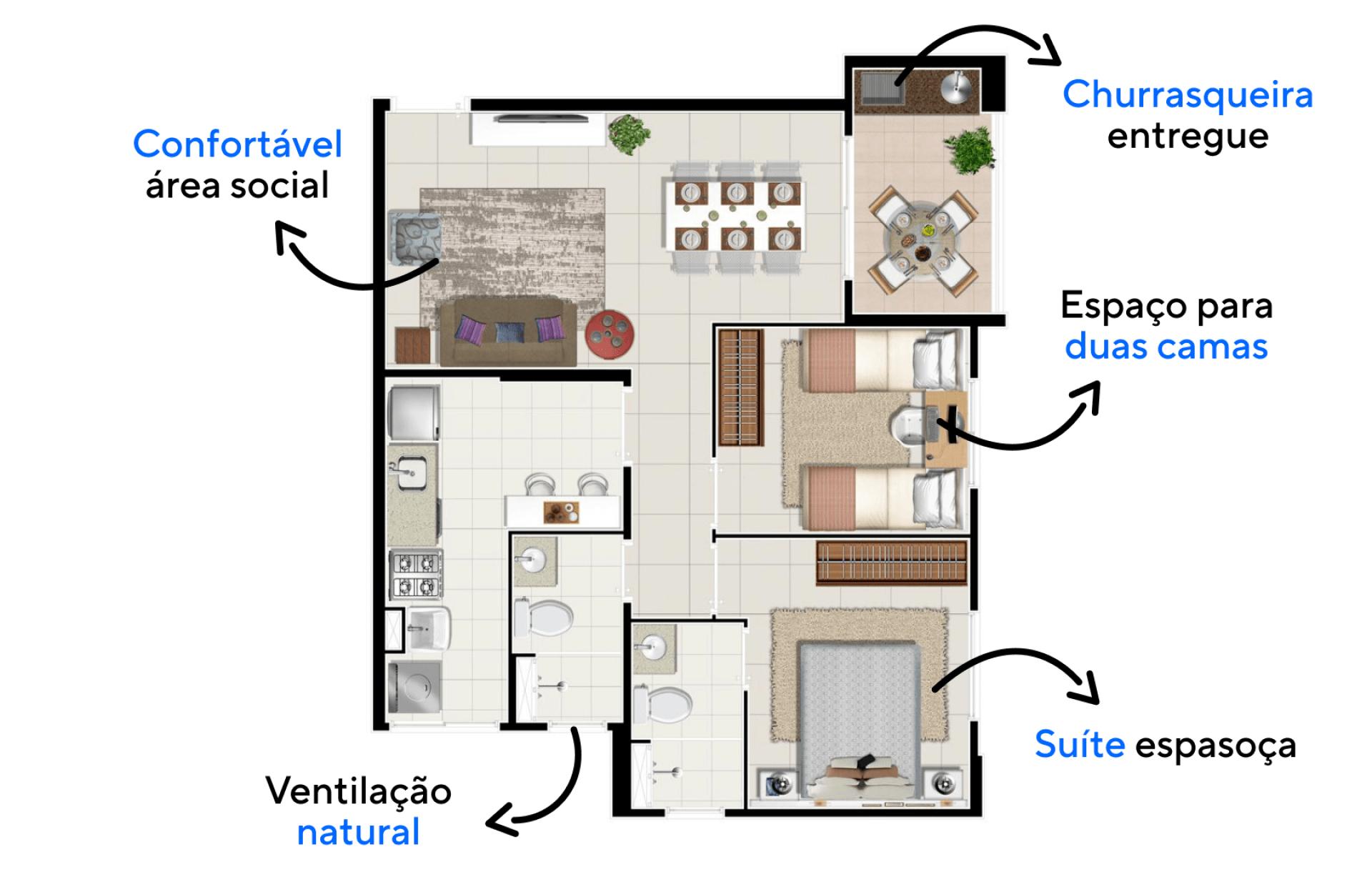 58 M² - 2 DORMITÓRIOS, SENDO 1 SUÍTE. Apartamentos com confortável área social que se conecta ao terraço gourmet, um ambiente entregue com churrasqueira e bancada, que funciona como uma extensão do seu espaço para receber.