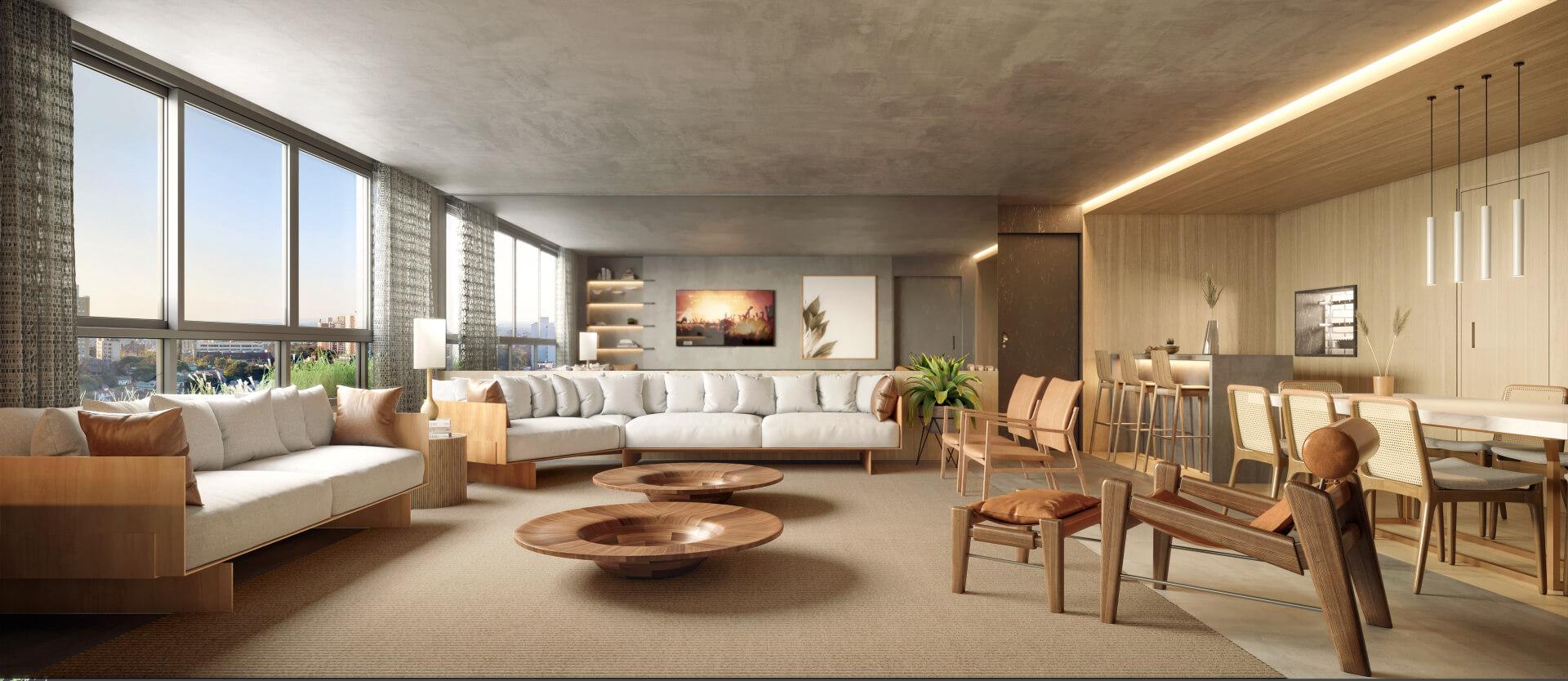 LIVING do apto de 156 m² com ampla área social permitindo a criação de mais de 3 ambientes integrados que favorecem o convívio. São mais de 40 m² de espaço para que você configure como quiser!