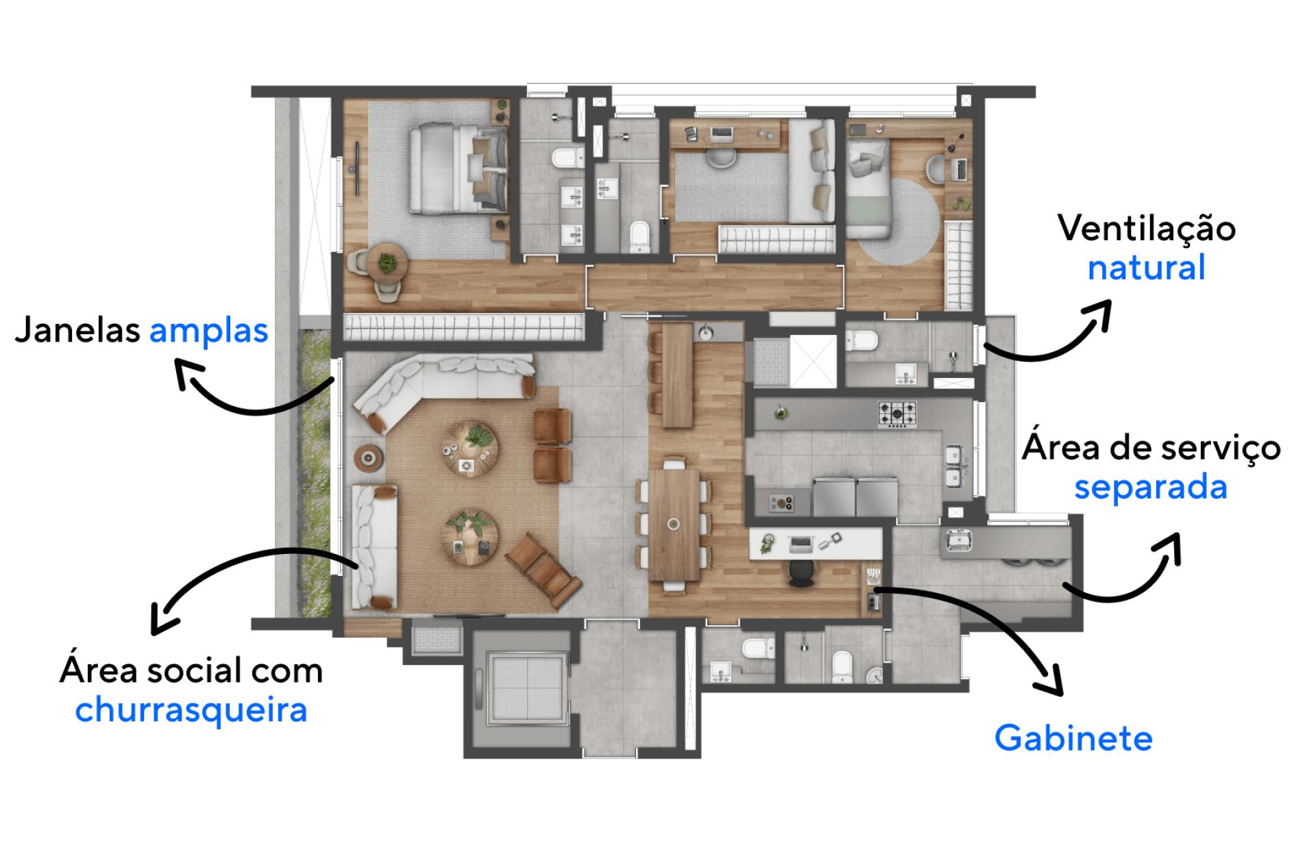 156 M² - 3 SUÍTES. Apartamentos com ótima setorização, proporcionando privacidade às suítes e amplitude ao living. Destaque para o gabinete, um confortável espaço para o trabalho remoto.