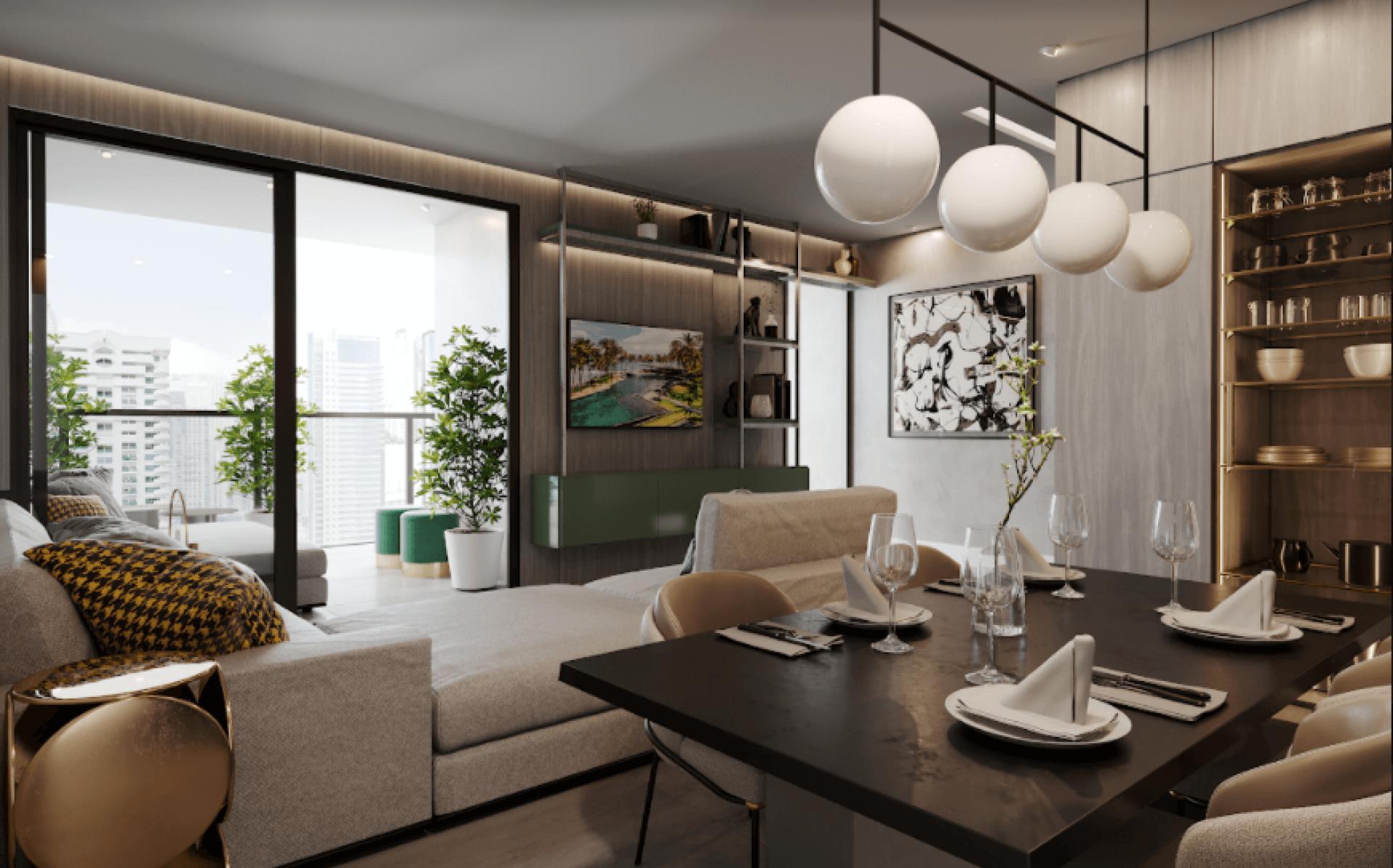 SALA com espaços de estar e jantar integrados, criando um confortável ambiente para receber seus convidados. O guarda-corpo em vidro, utilizado na varanda, é um elemento que proporciona uma boa iluminação as áreas sociais do apartamento.