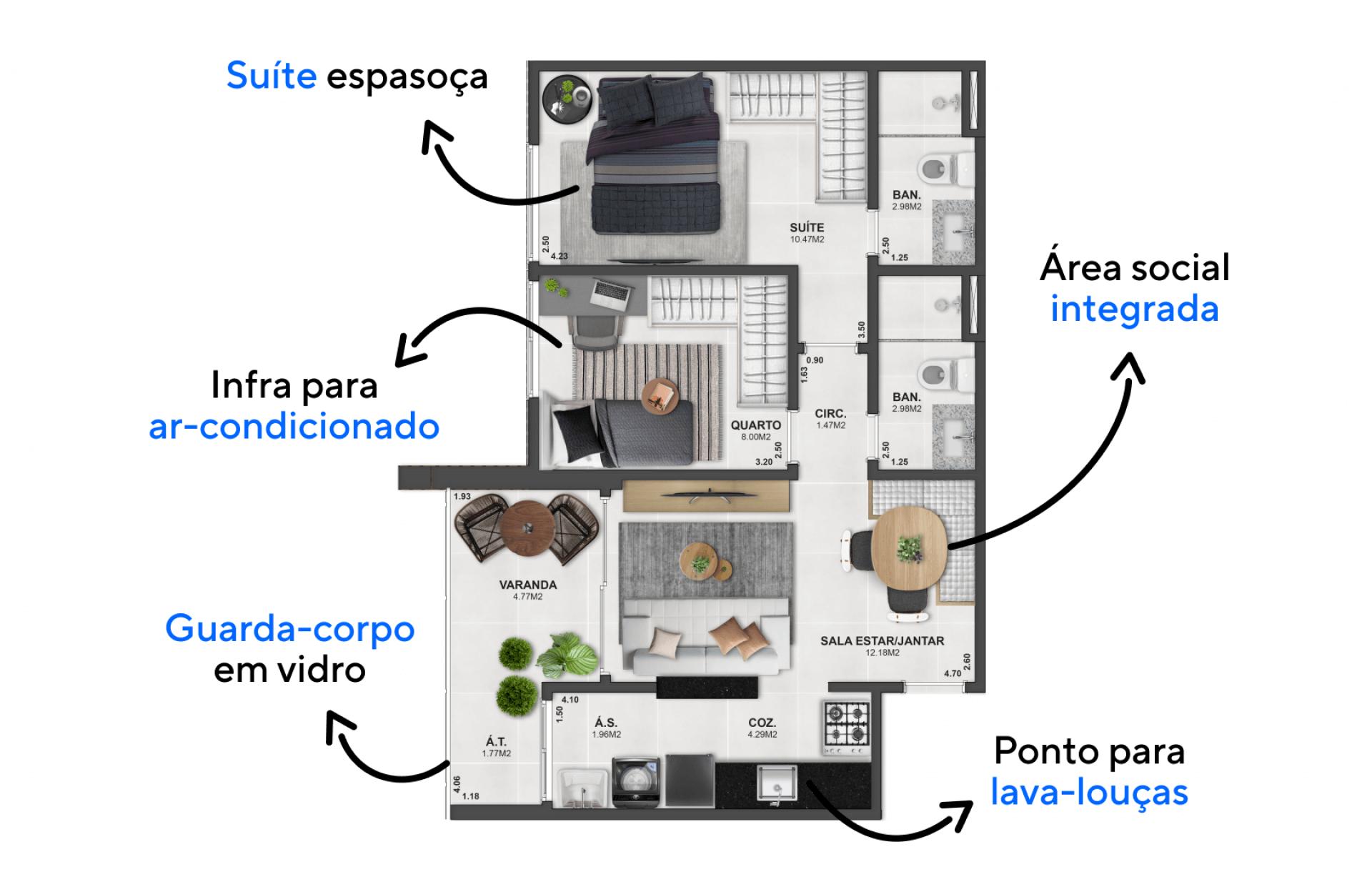 55 M² - 2 QUARTOS, SENDO 1 SUÍTE. Apartamentos com boa setorização entre espaços sociais e quartos, assim os momentos de descanso se tornam mais íntimos e privativos.