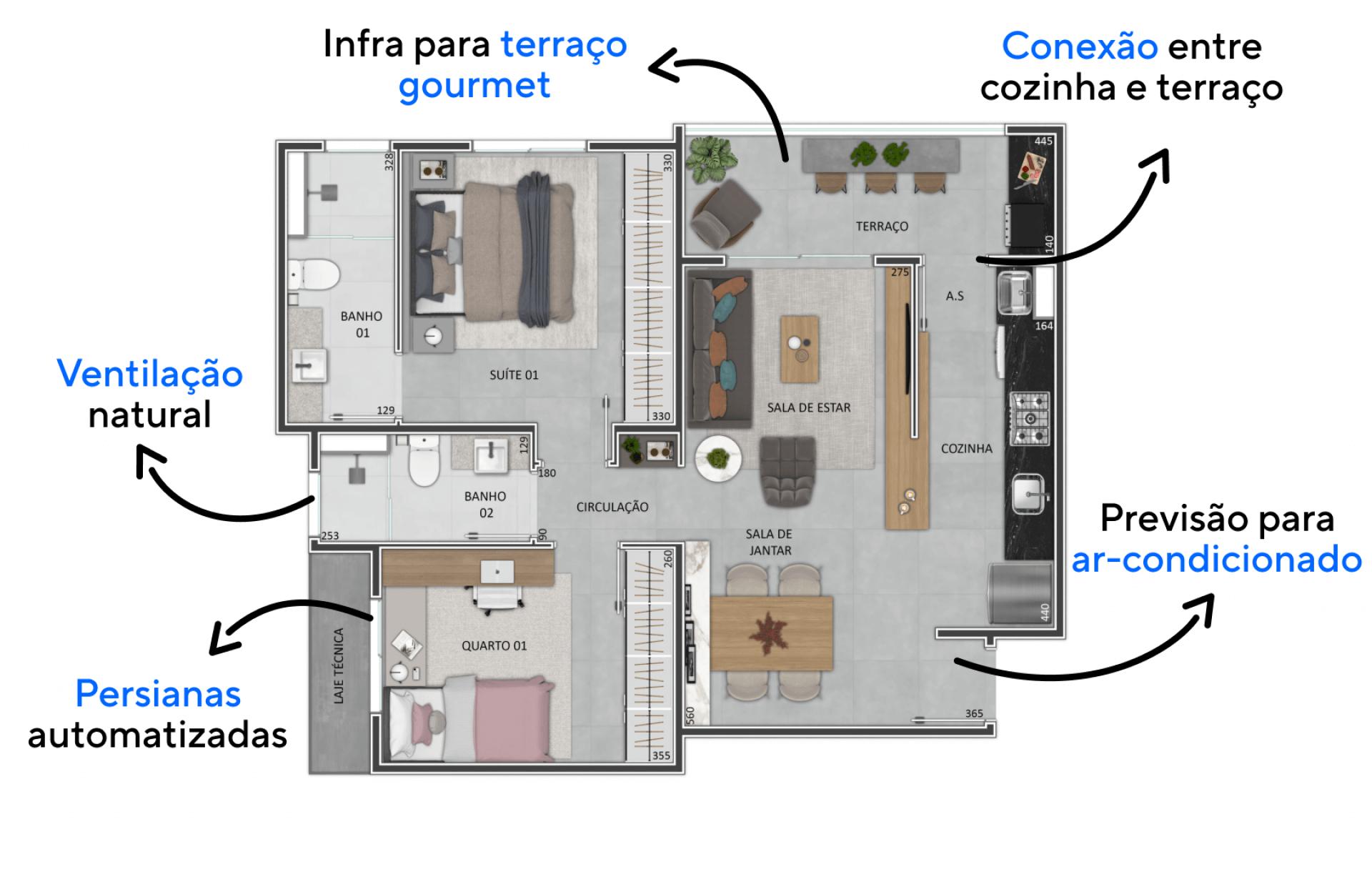 70 M² - 2 DORMITÓRIOS, SENDO 1 SUÍTE. Apartamentos com terraço que faz conexão direta com a cozinha e com a sala de estar, uma extensão da área social que pode ser configurada como espaço gourmet!