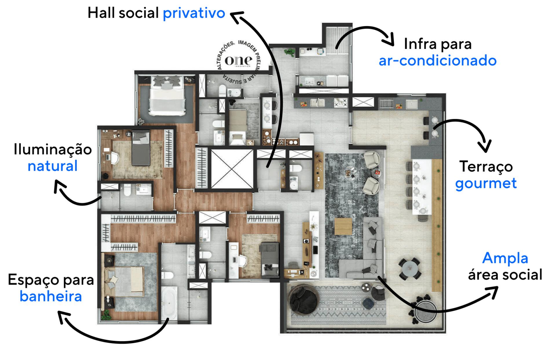 230 M² - 4 SUÍTES. Apartamentos com hall social privativo dando acesso direto a unidade. O amplo terraço gourmet possibilita diversas configurações, assim você pode criar ambientes estendendo sua área social interna.