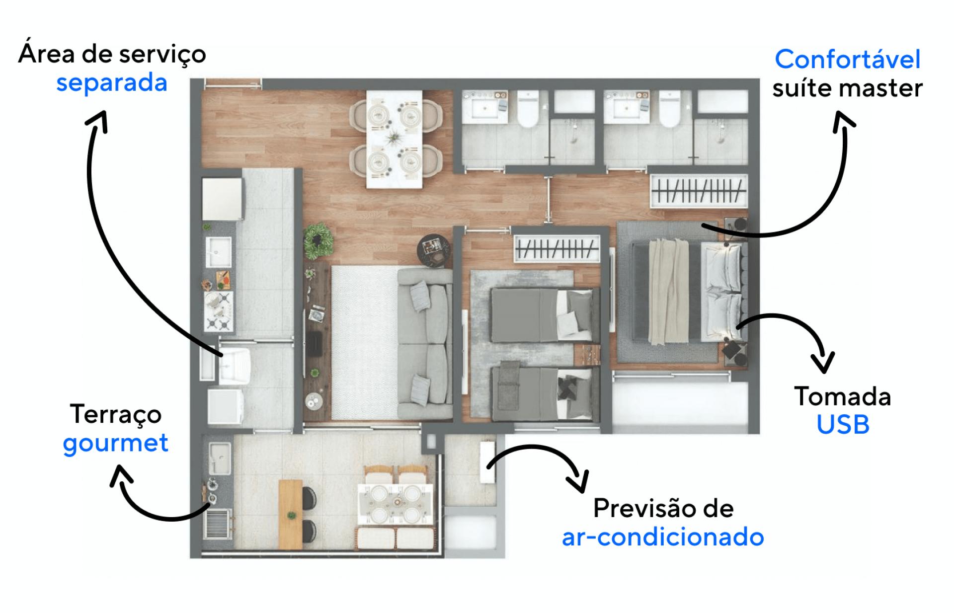 69 M² - 2 DORMITÓRIOS, SENDO 1 SUÍTE. Apartamentos com boa setorização entre os ambientes sociais e íntimos, proporcionando que os momentos de descanso do morador tenham total privacidade.